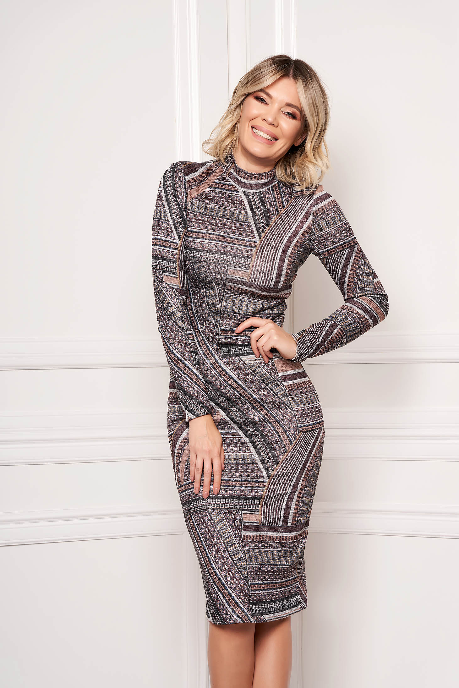 StarShinerS brown dress elegant midi pencil with graphic details with turtle neck long sleeved