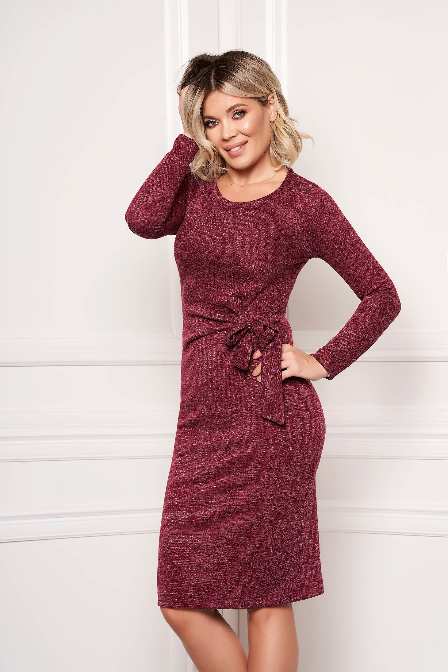 StarShinerS burgundy dress elegant midi pencil knitted fabric accessorized with tied waistband without clothing
