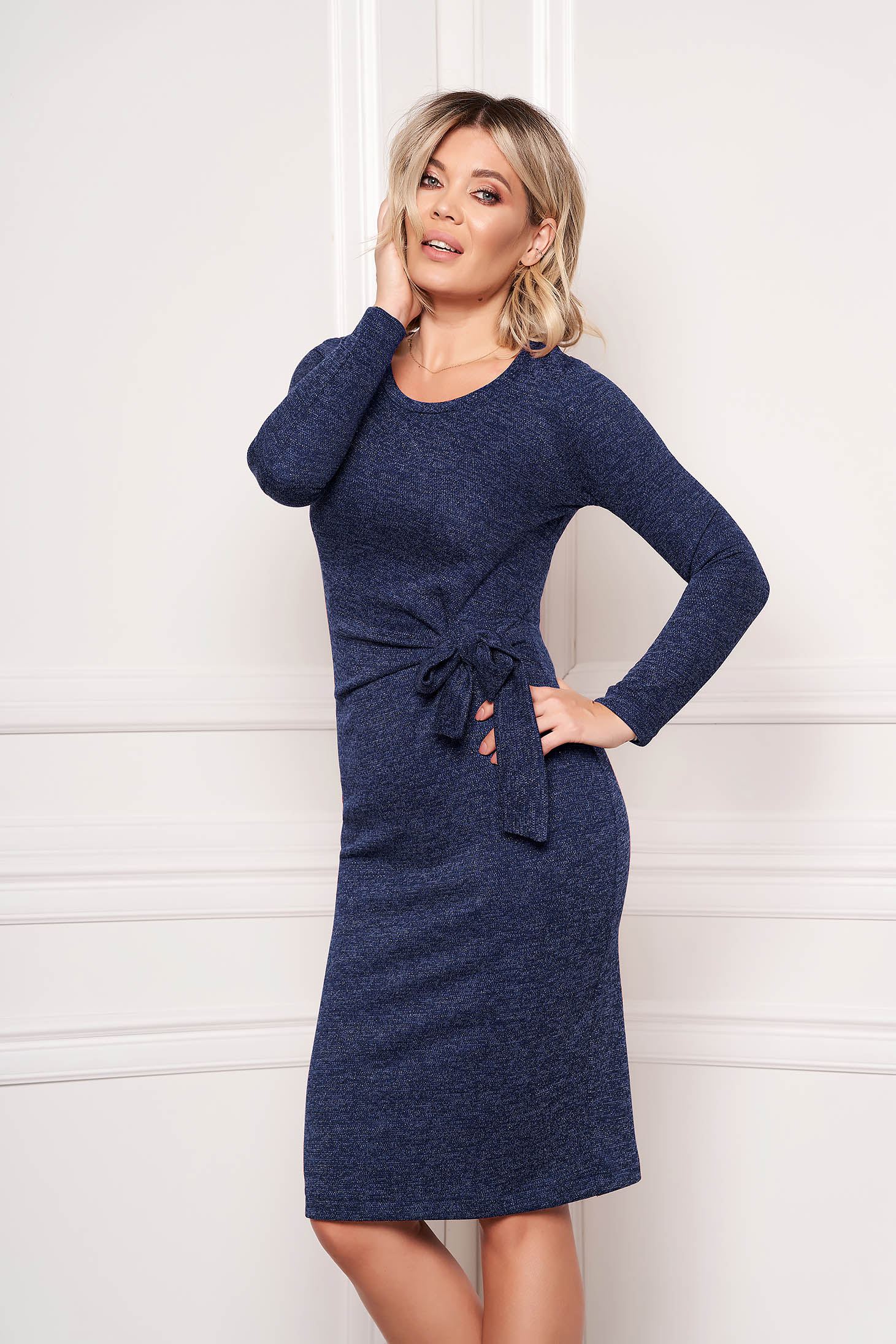 StarShinerS darkblue dress elegant midi pencil knitted fabric accessorized with tied waistband without clothing