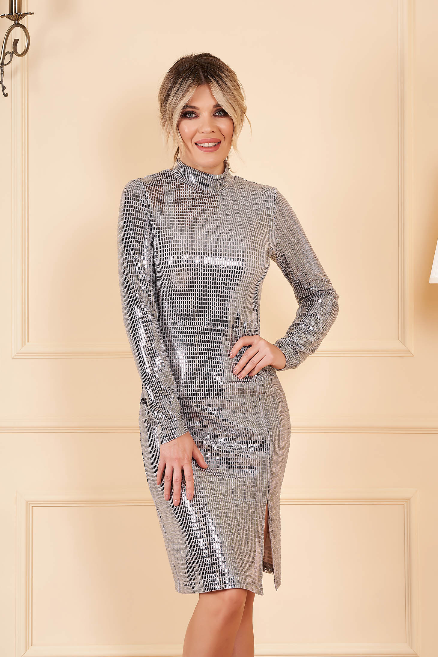 StarShinerS grey clubbing dress with tented cut long sleeve