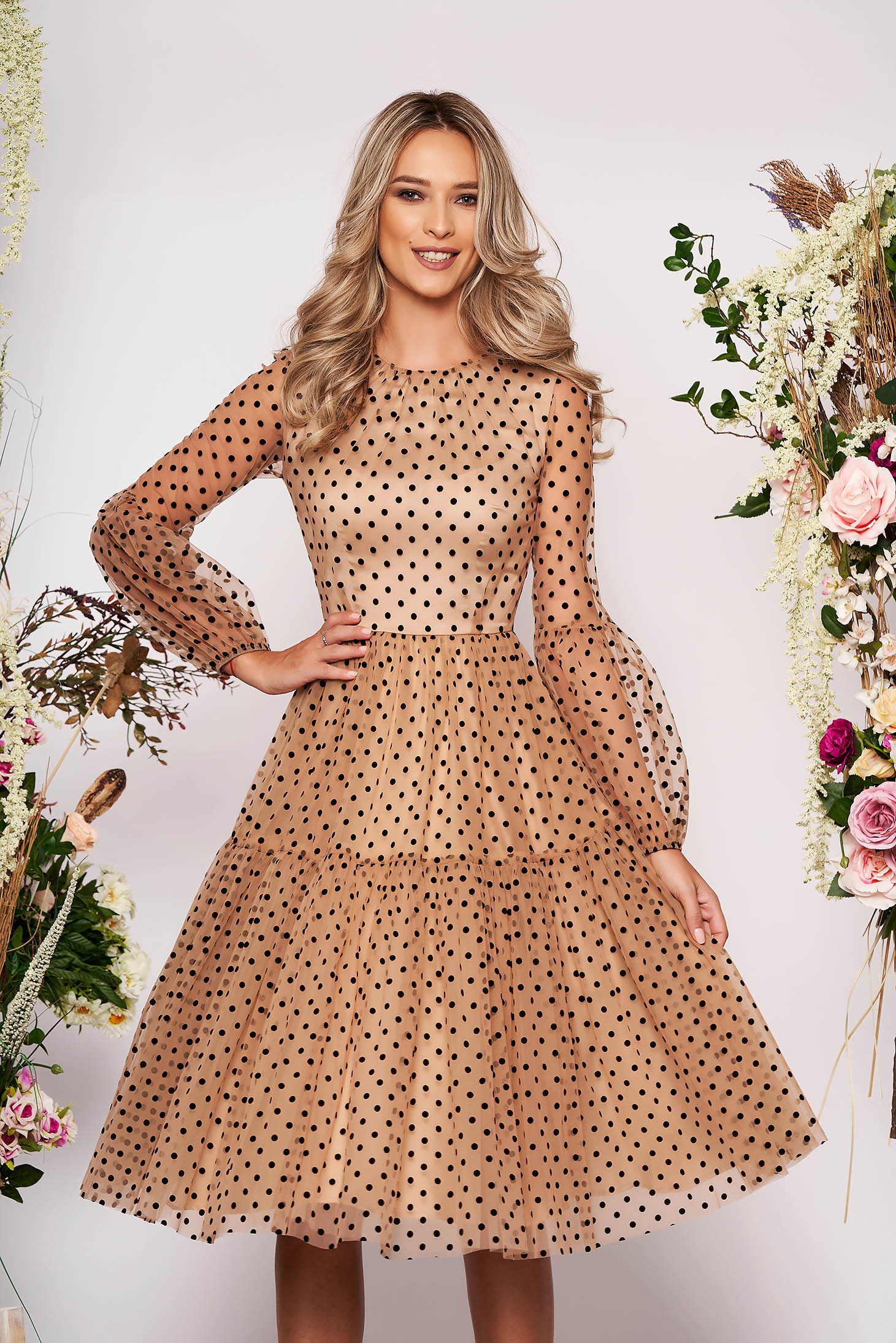 Cream dress occasional midi cloche from tulle dots print long sleeved transparent sleeves with puffed sleeves