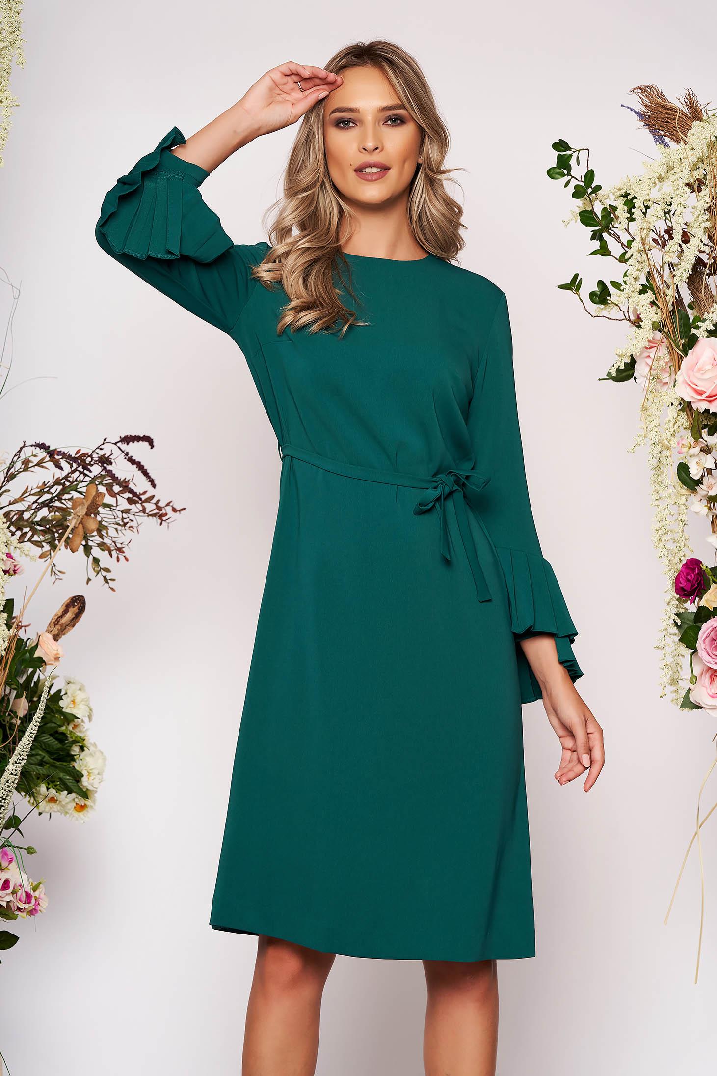 Rochie verde eleganta midi din stofa cu croi larg cu maneci lungi si cordon detasabil