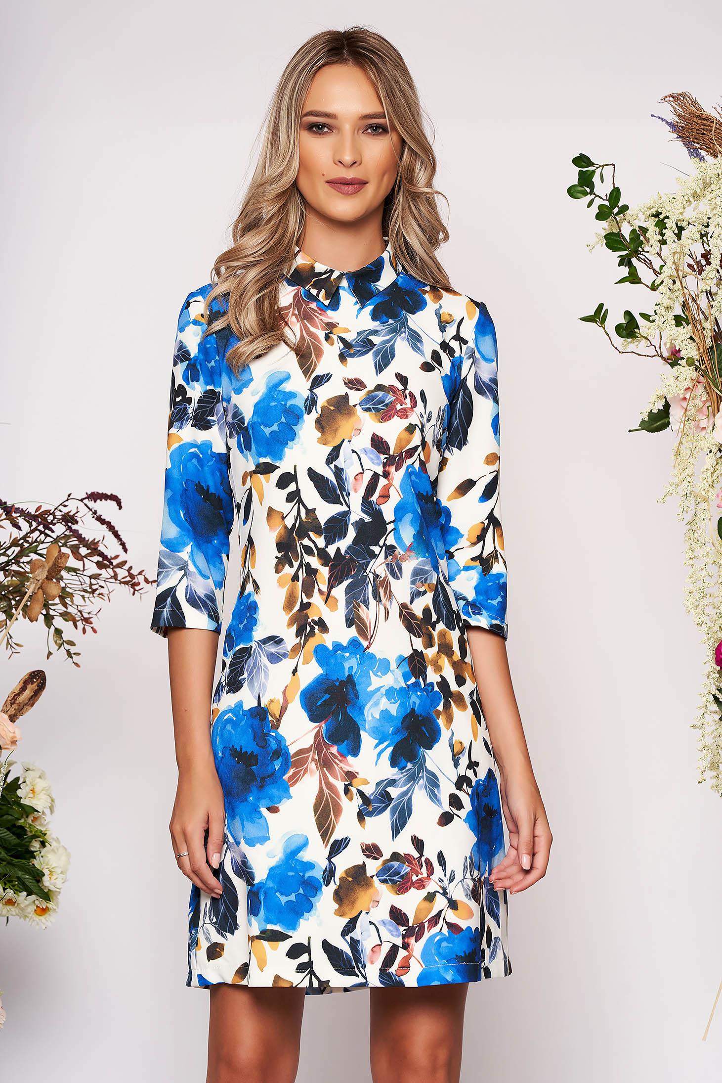 Rochie LaDonna albastra scurta eleganta din scuba cu croi in a cu guler cu buzunare si imprimeu floral