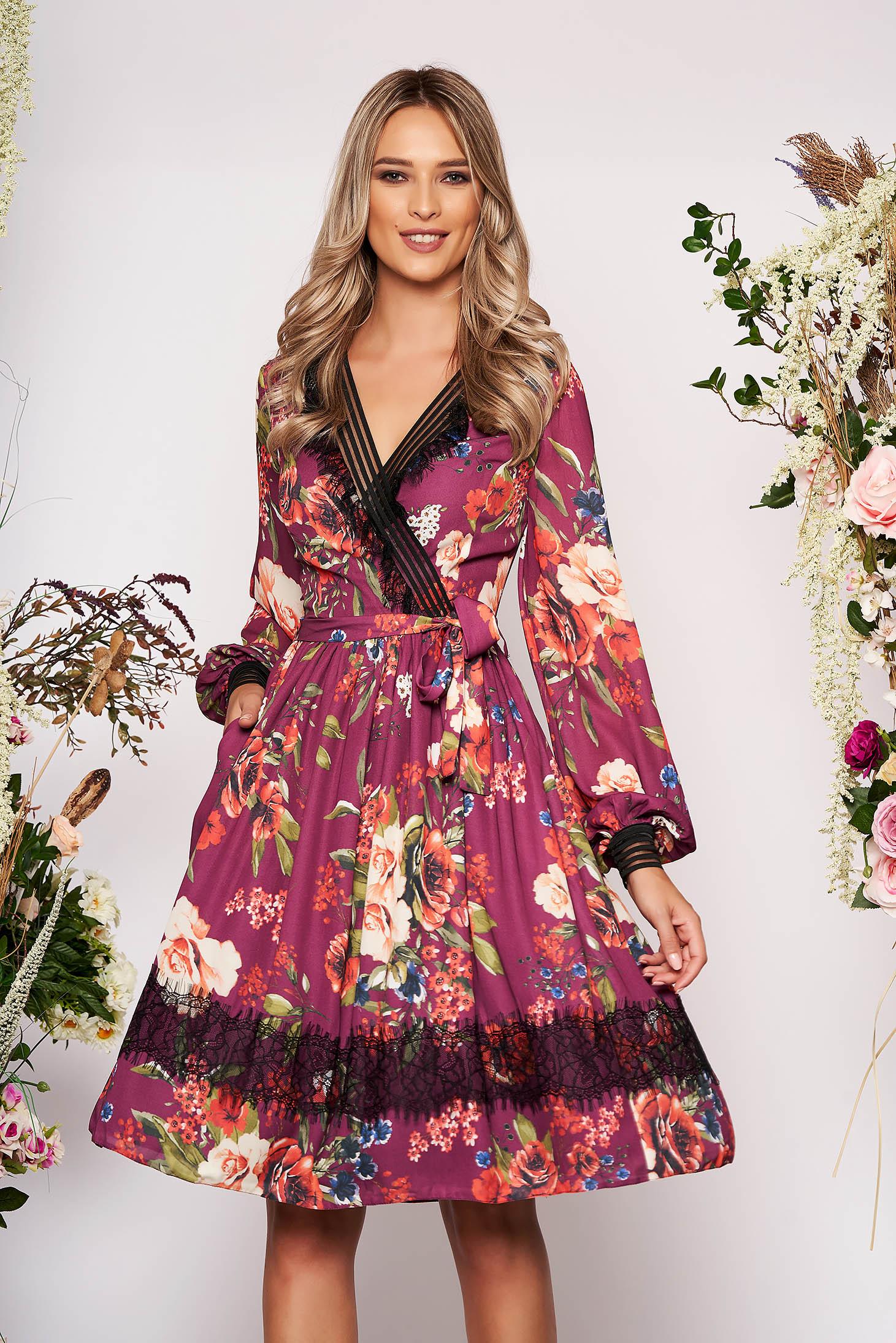 Purple dress elegant midi cloche with floral print from veil fabric