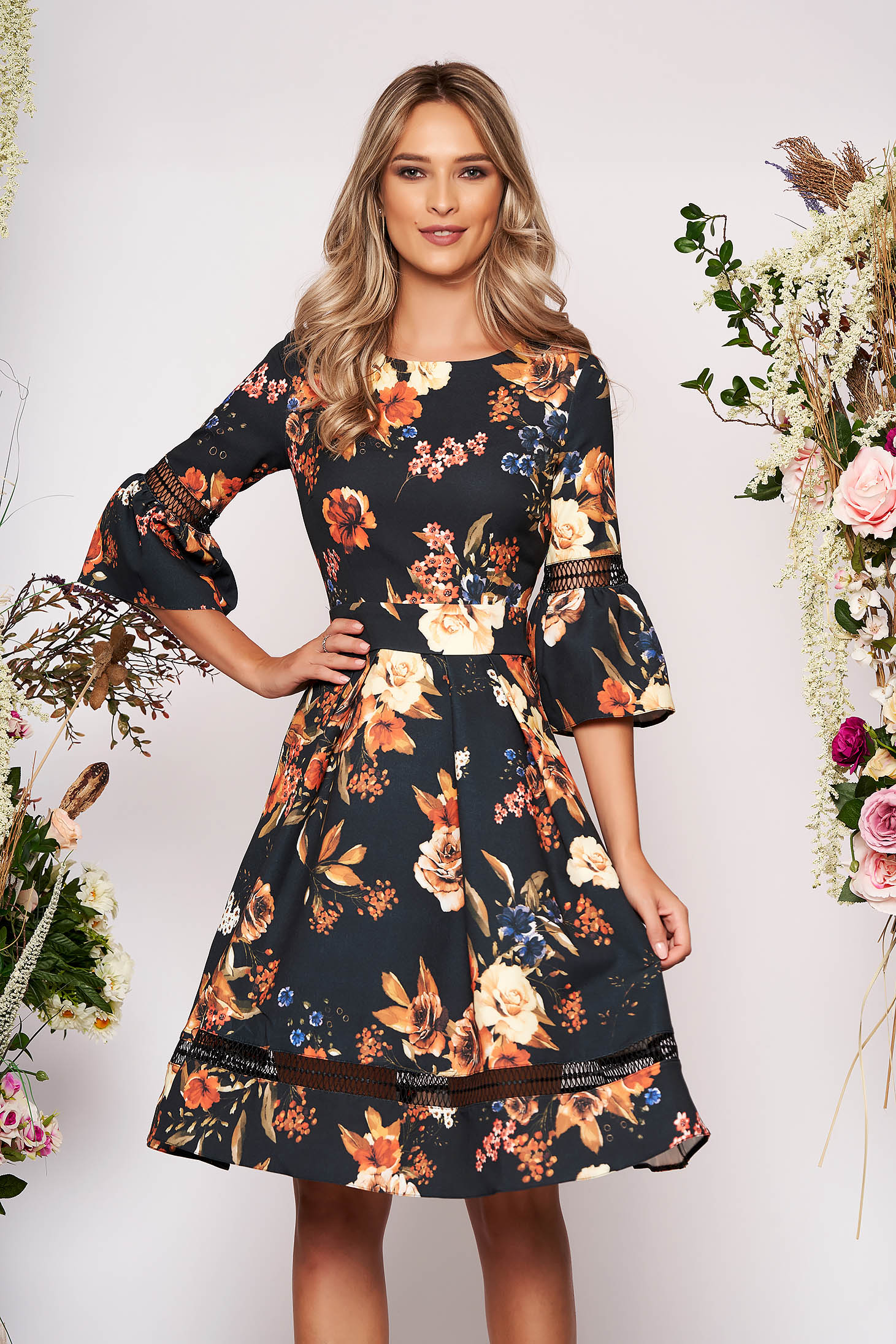 Black dress occasional cloche with floral print bell sleeves neckline