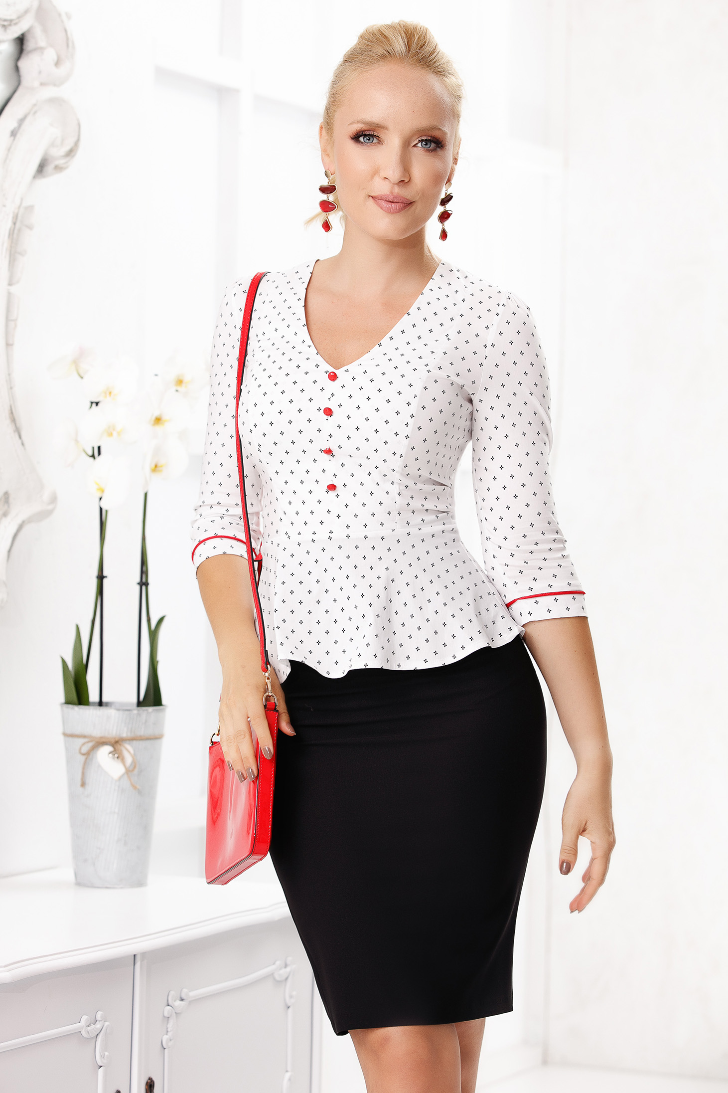 White women`s shirt elegant long sleeve peplum with v-neckline with graphic details from elastic fabric