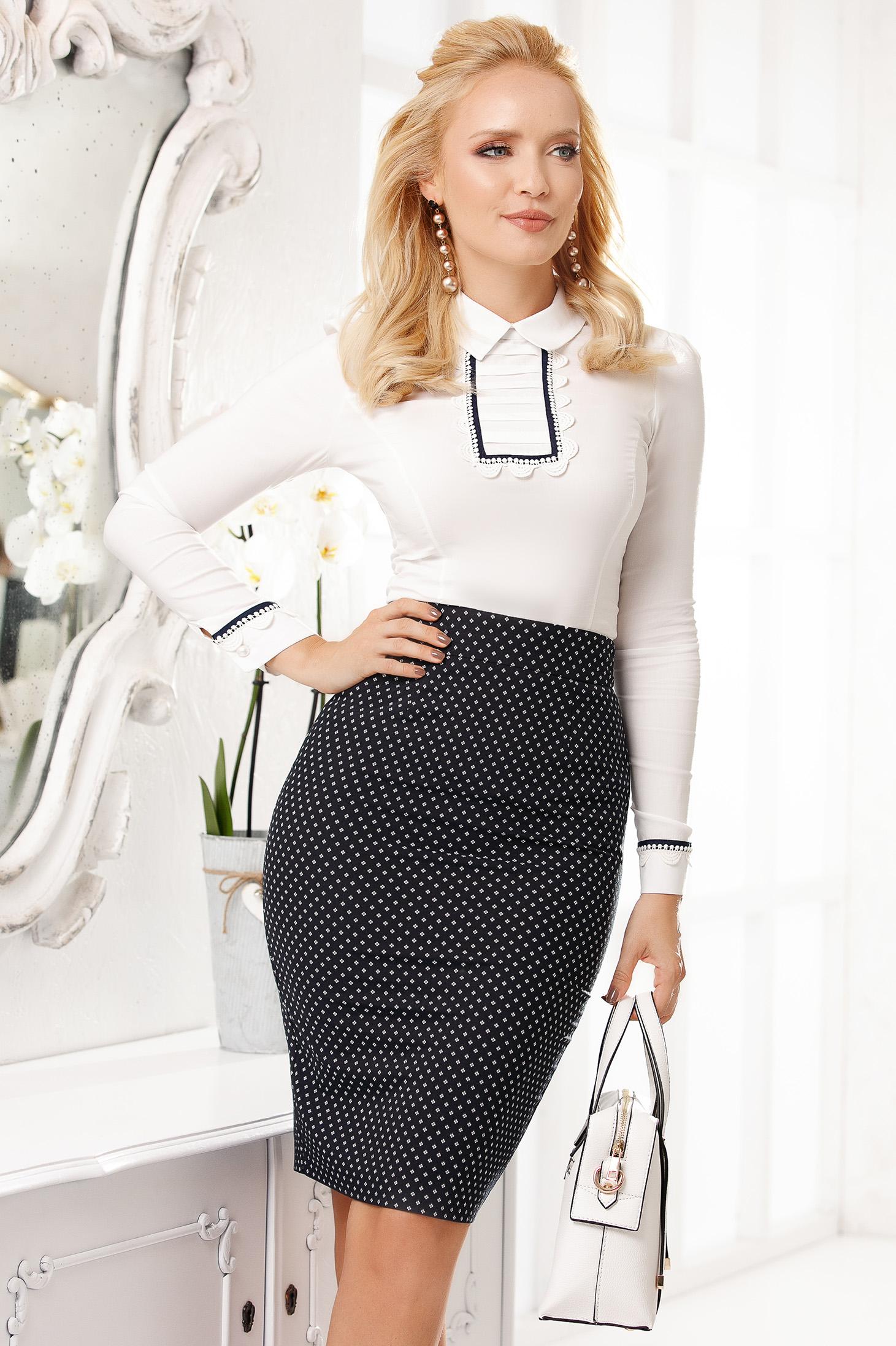 White women`s shirt elegant short cut cotton tented from elastic fabric long sleeve