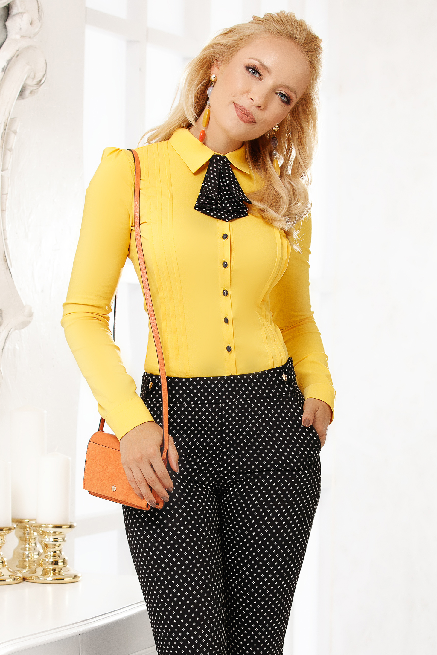 Yellow women`s shirt elegant cotton tented short cut accesorized with tie