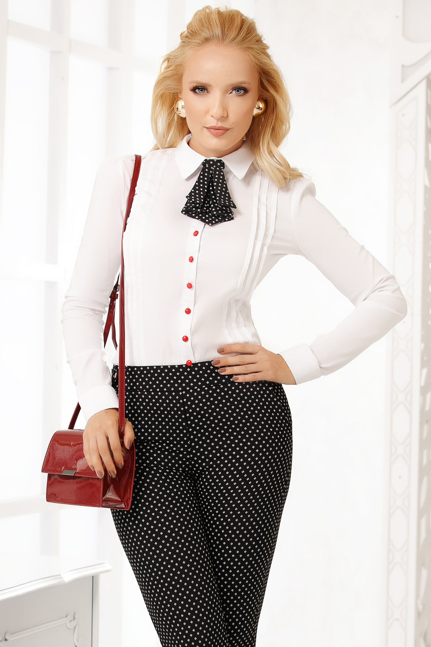 White women`s shirt elegant cotton tented short cut accesorized with tie