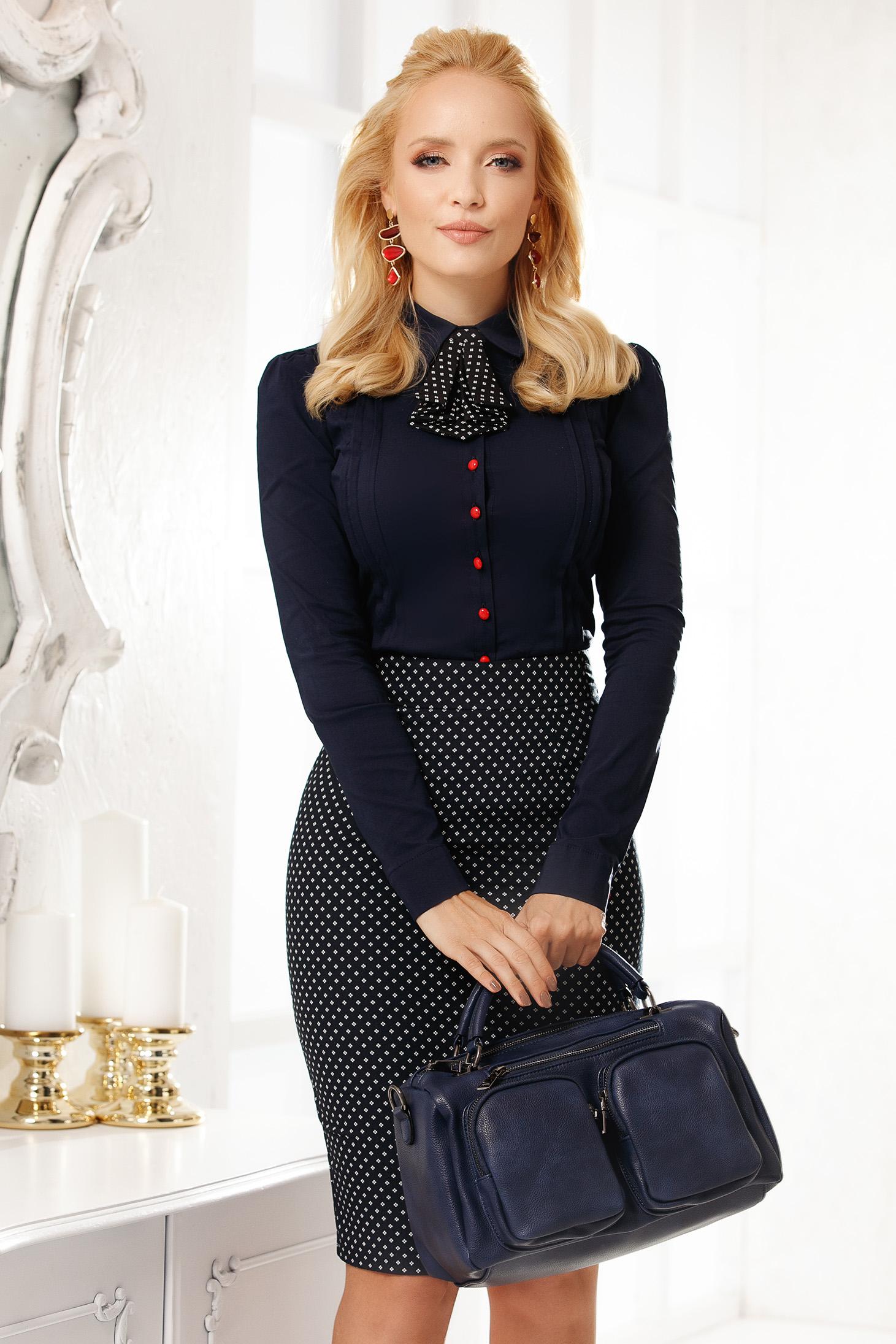Darkblue women`s shirt elegant cotton tented short cut accesorized with tie