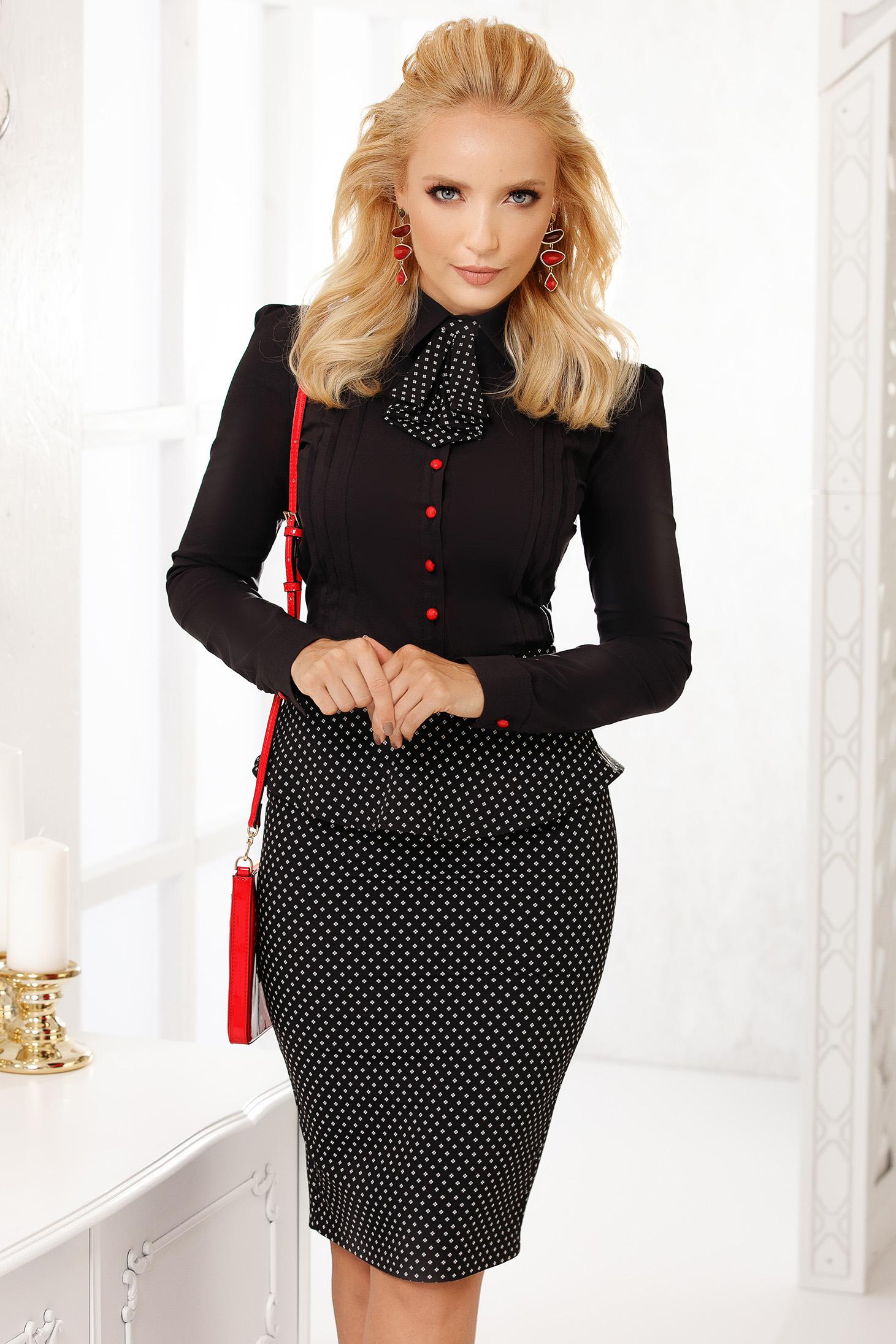 Black women`s shirt elegant cotton tented short cut accesorized with tie