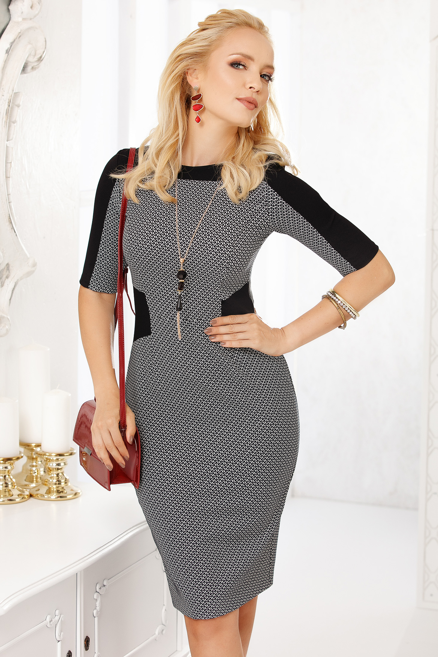 Black dress elegant short cut pencil cloth thin fabric with graphic details neckline