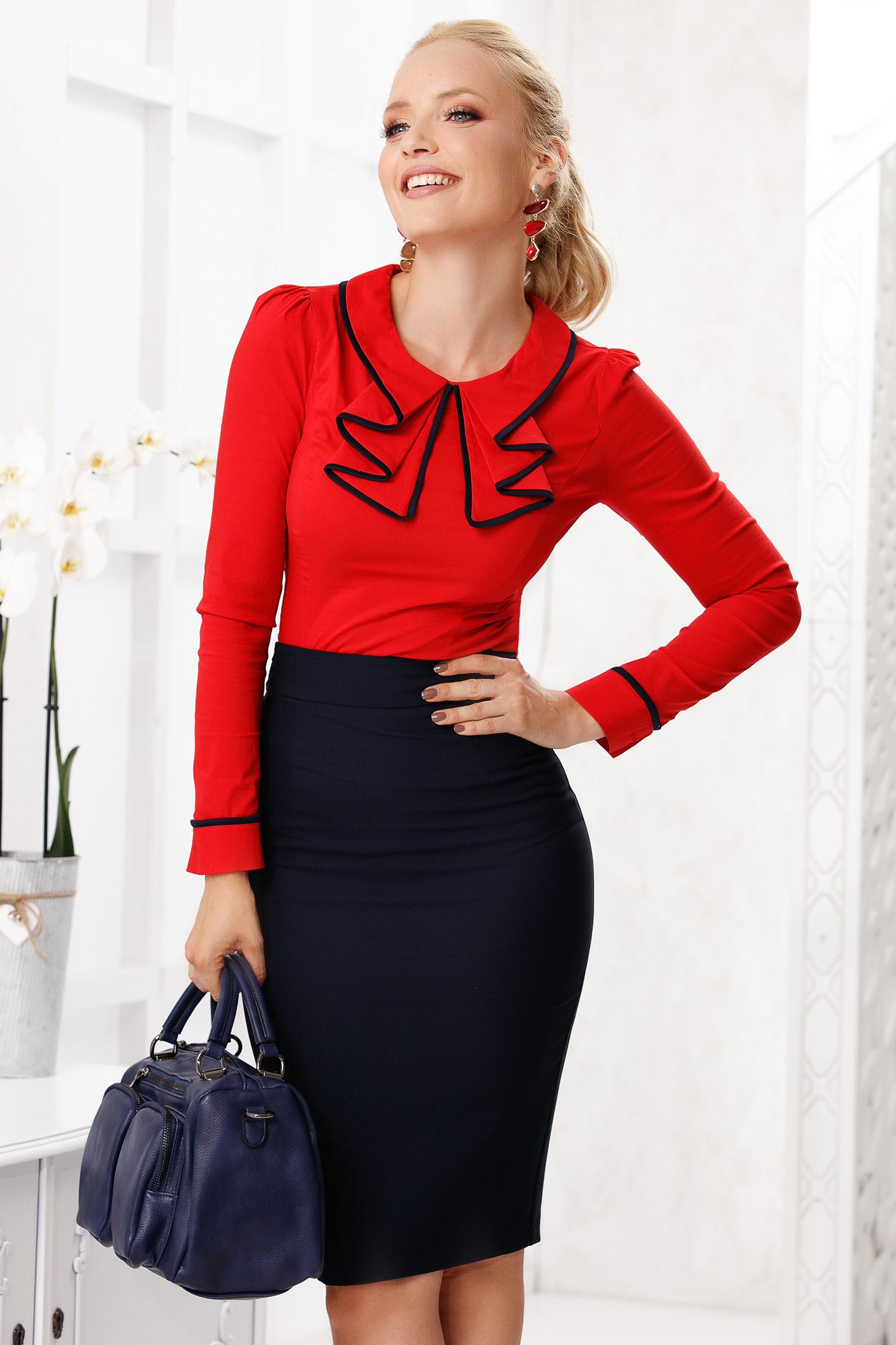 Red women`s shirt elegant tented cotton thin fabric ruffled collar