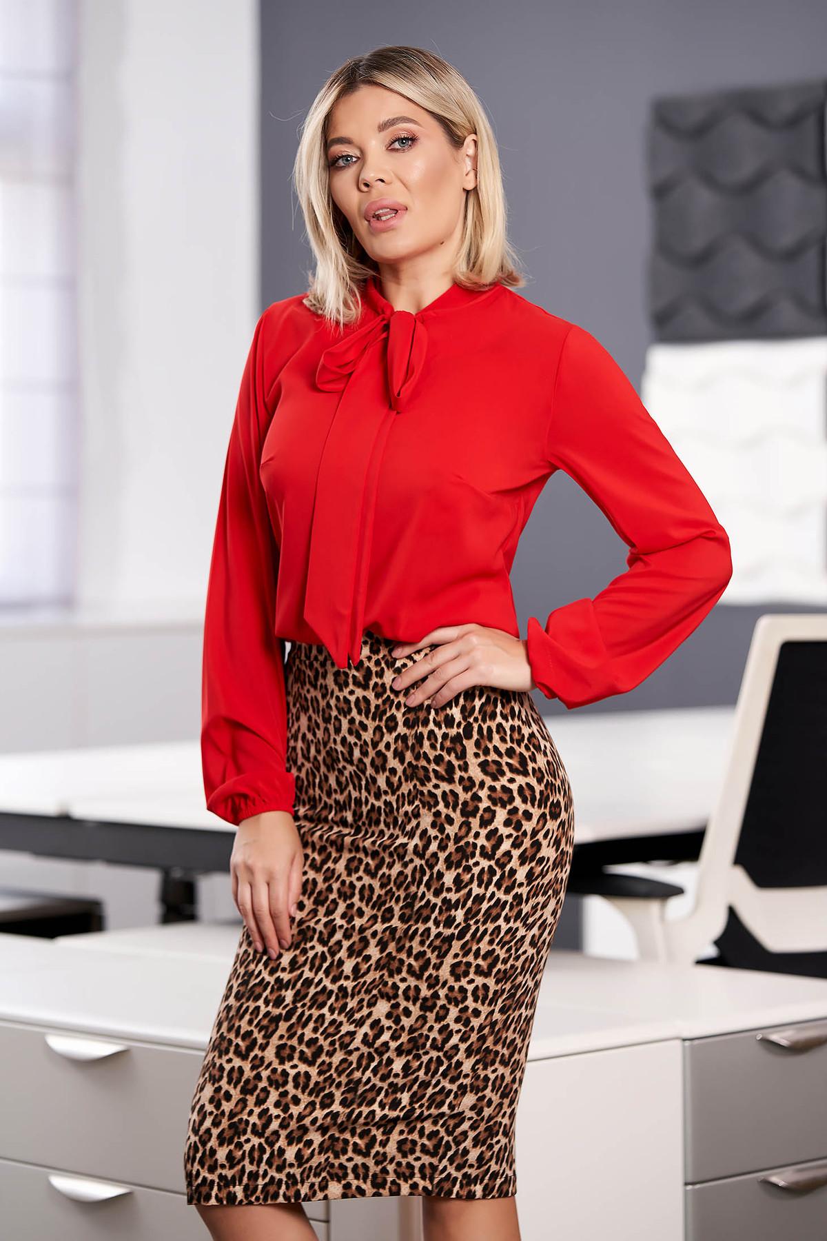 Bluza dama StarShinerS rosie eleganta cu croi larg din voal cu maneci lungi si guler tip esarfa