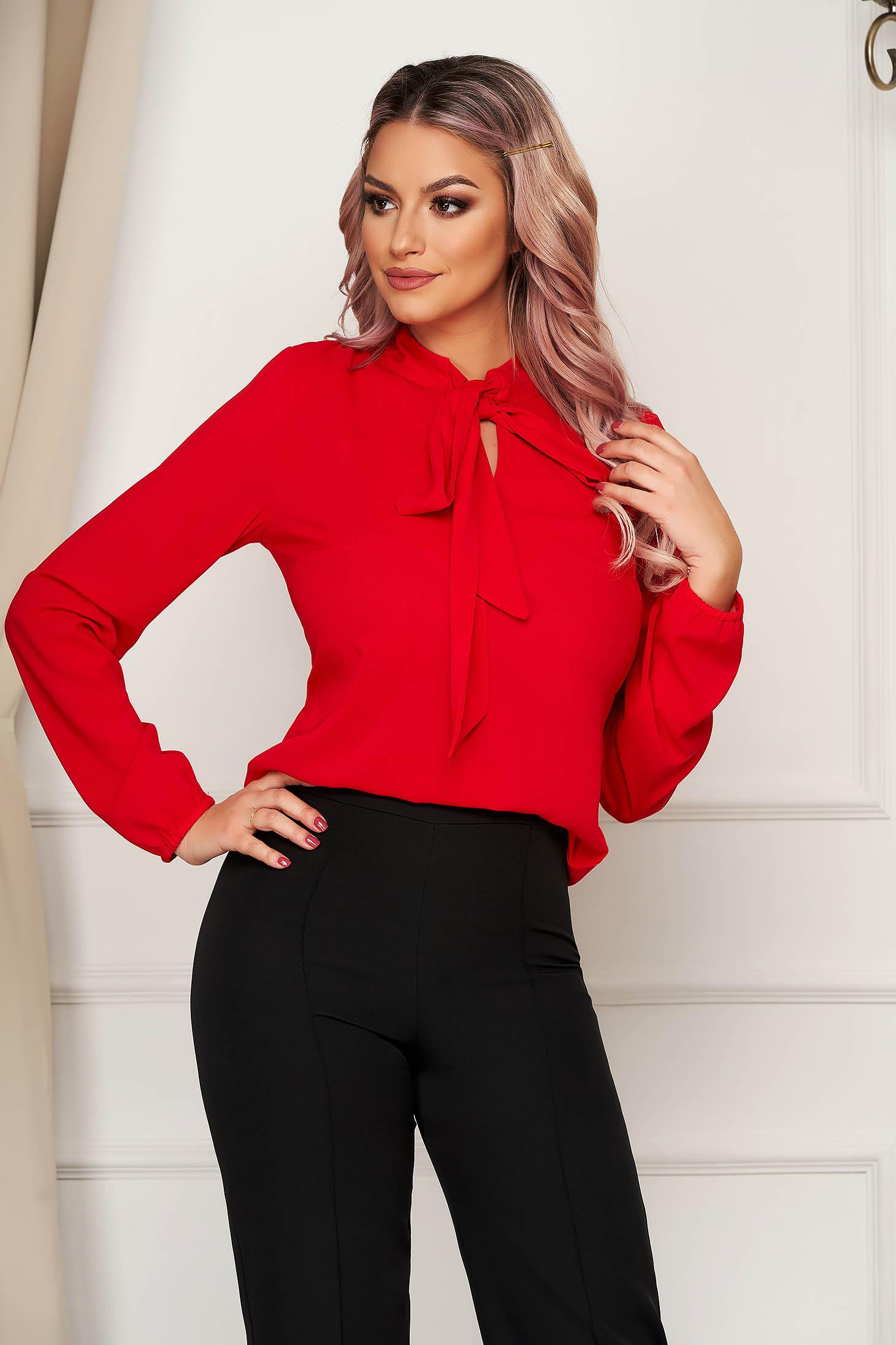 Bluza dama StarShinerS rosie eleganta cu croi larg din voal cu maneci lungi cu guler tip esarfa