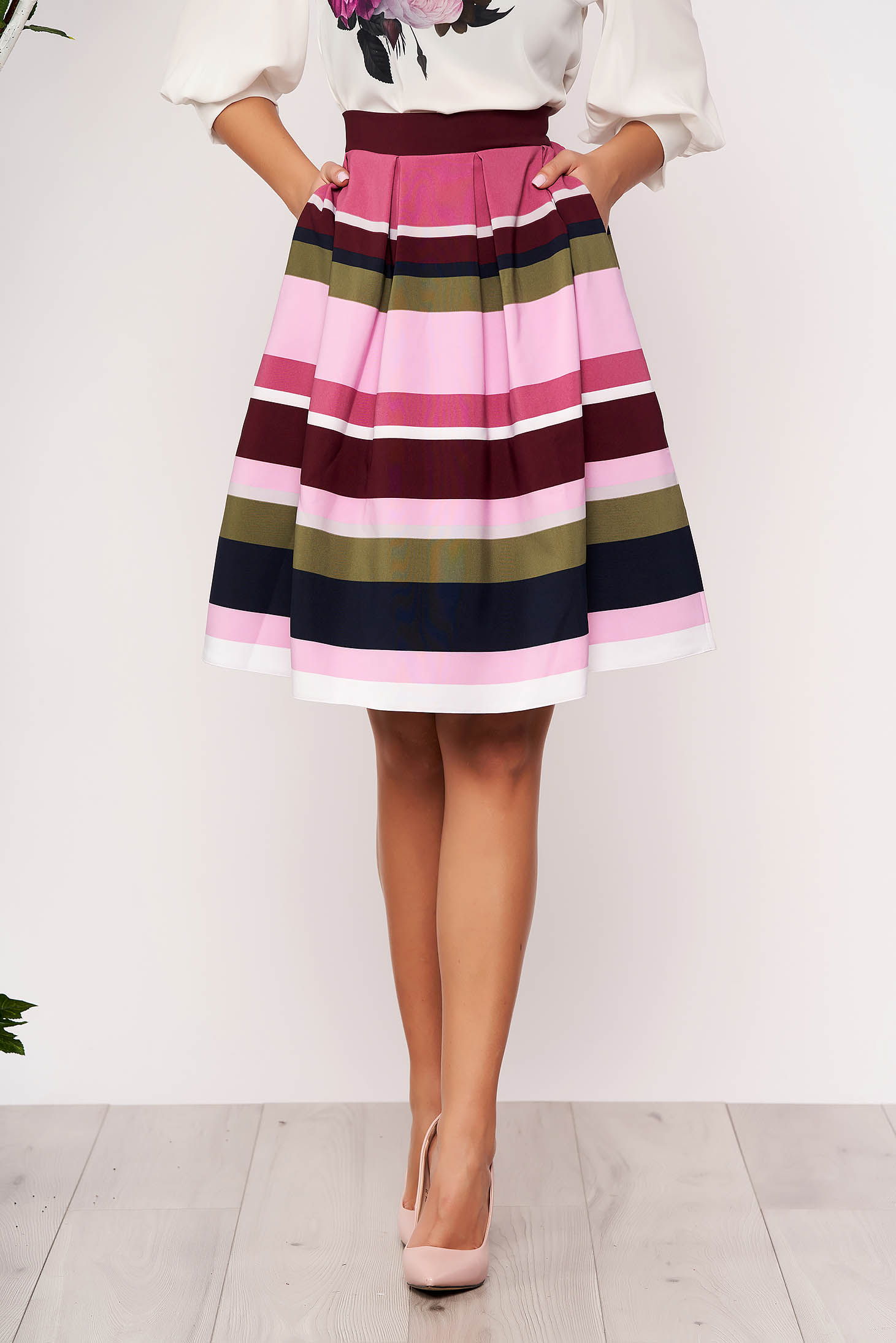 StarShinerS pink skirt elegant short cut cloche from elastic fabric with pockets with stripes without clothing