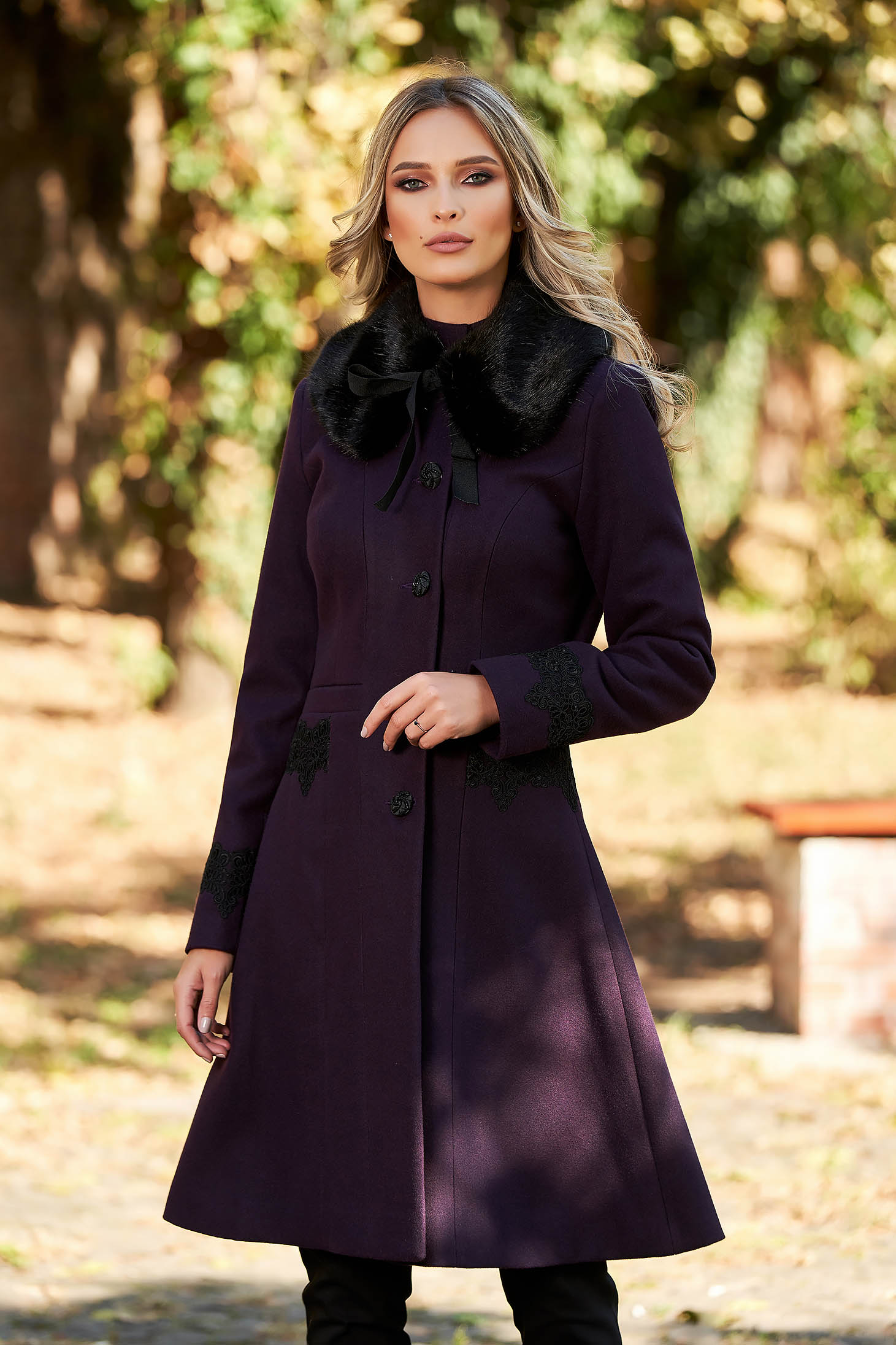 Best impulse elegant from wool with inside lining purple coat with embroidery details with pockets