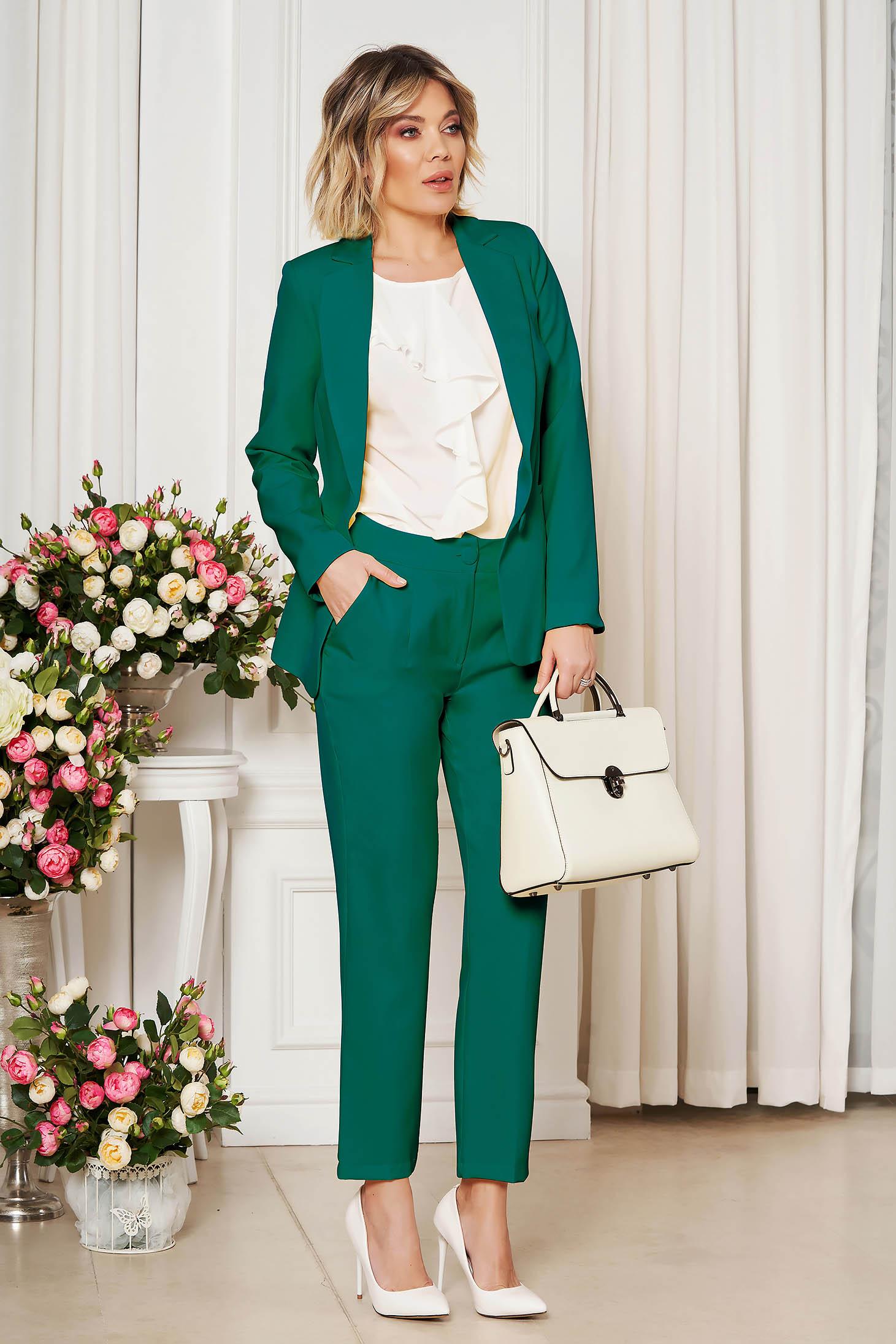 Zöld irodai egyenes szabású zsebes nadrág enyhén rugalmas szövetből