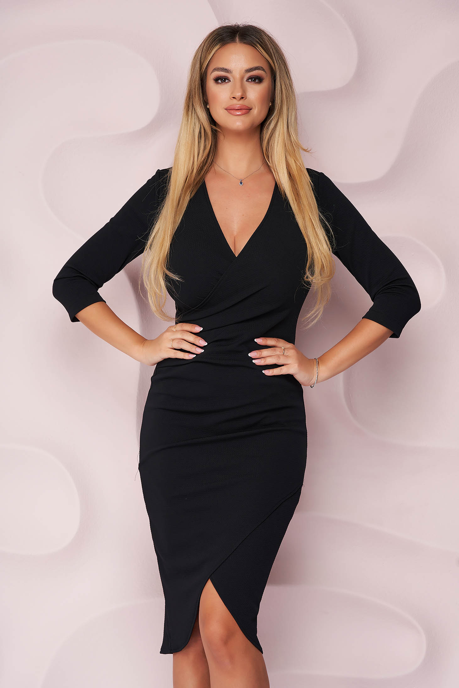 Rochie StarShinerS neagra office midi tip creion din material elastic cu decolteu in v