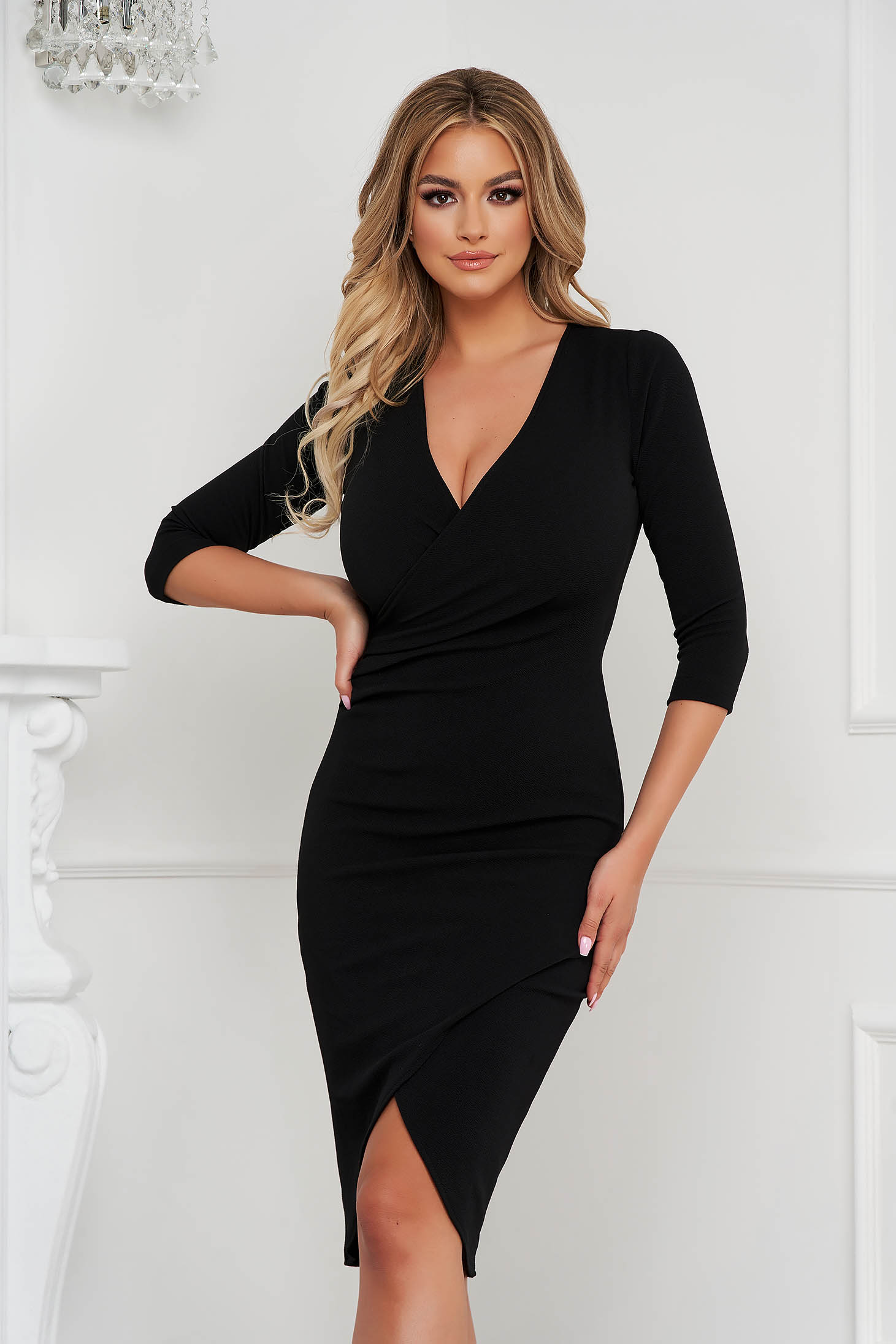 StarShinerS dress black midi pencil with v-neckline wrap over front with 3/4 sleeves from elastic fabric