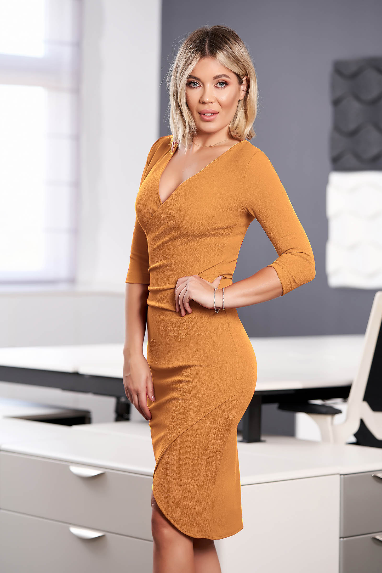 StarShinerS mustard dress elegant midi pencil with v-neckline wrap over front with 3/4 sleeves from elastic fabric