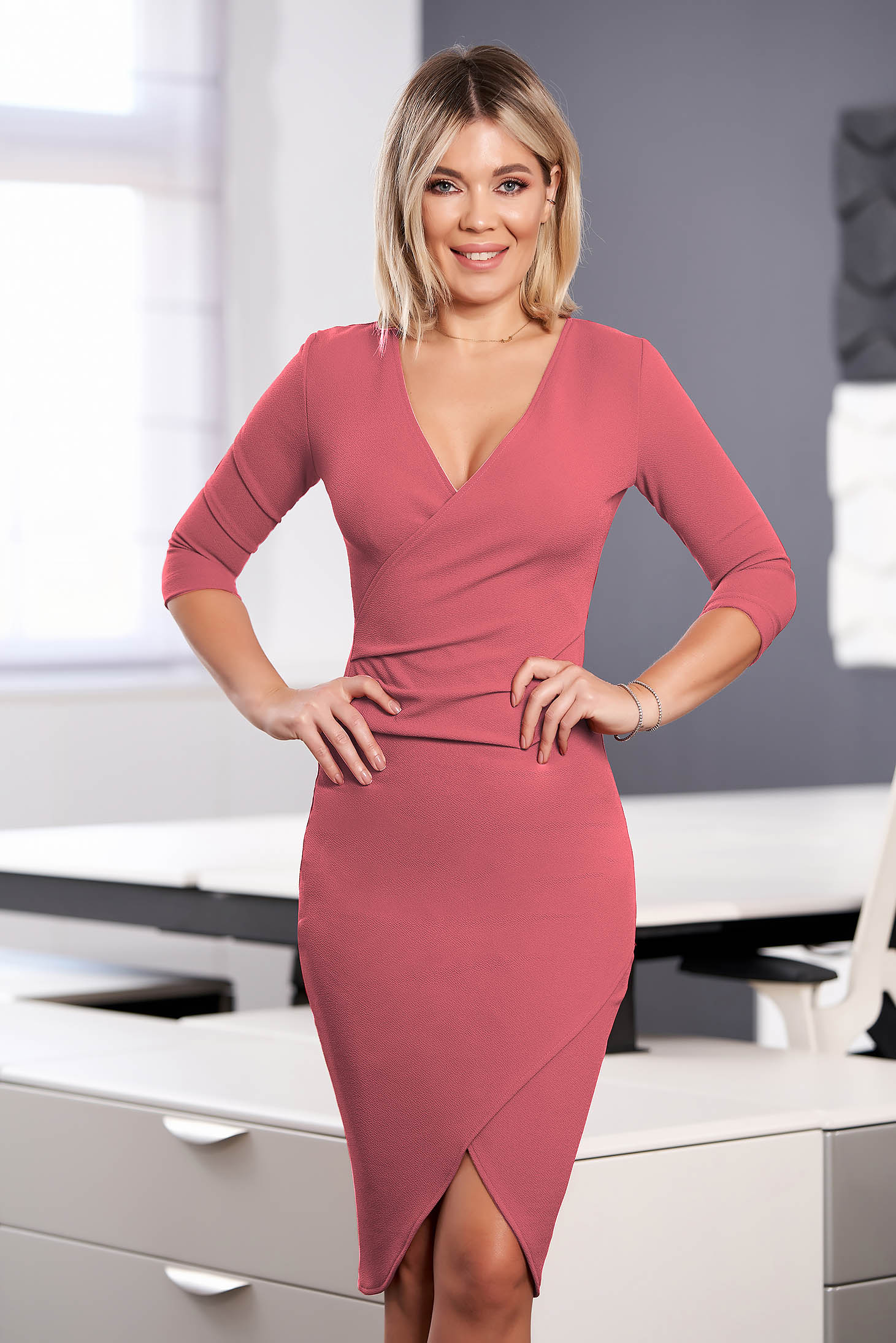 StarShinerS dress pink midi pencil with v-neckline wrap over front with 3/4 sleeves from elastic fabric
