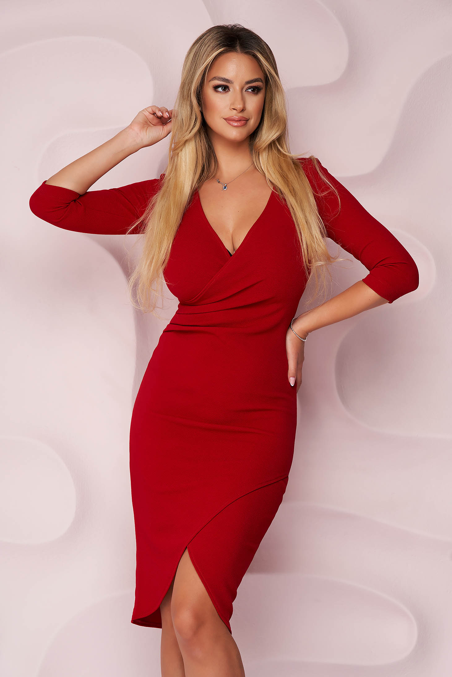 Rochie StarShinerS rosie office midi tip creion din material elastic cu decolteu in v