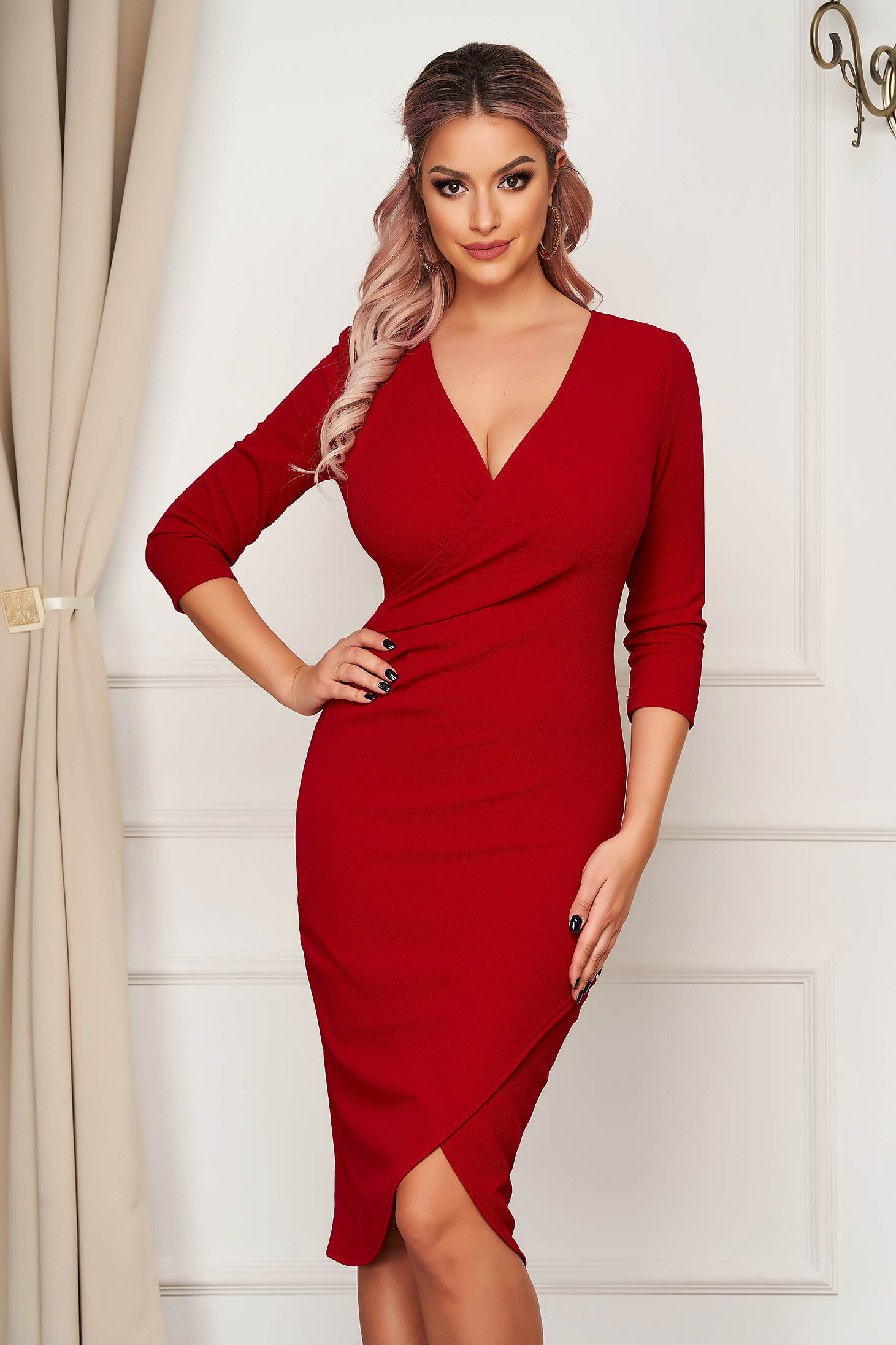 StarShinerS dress red midi pencil with v-neckline wrap over front with 3/4 sleeves from elastic fabric