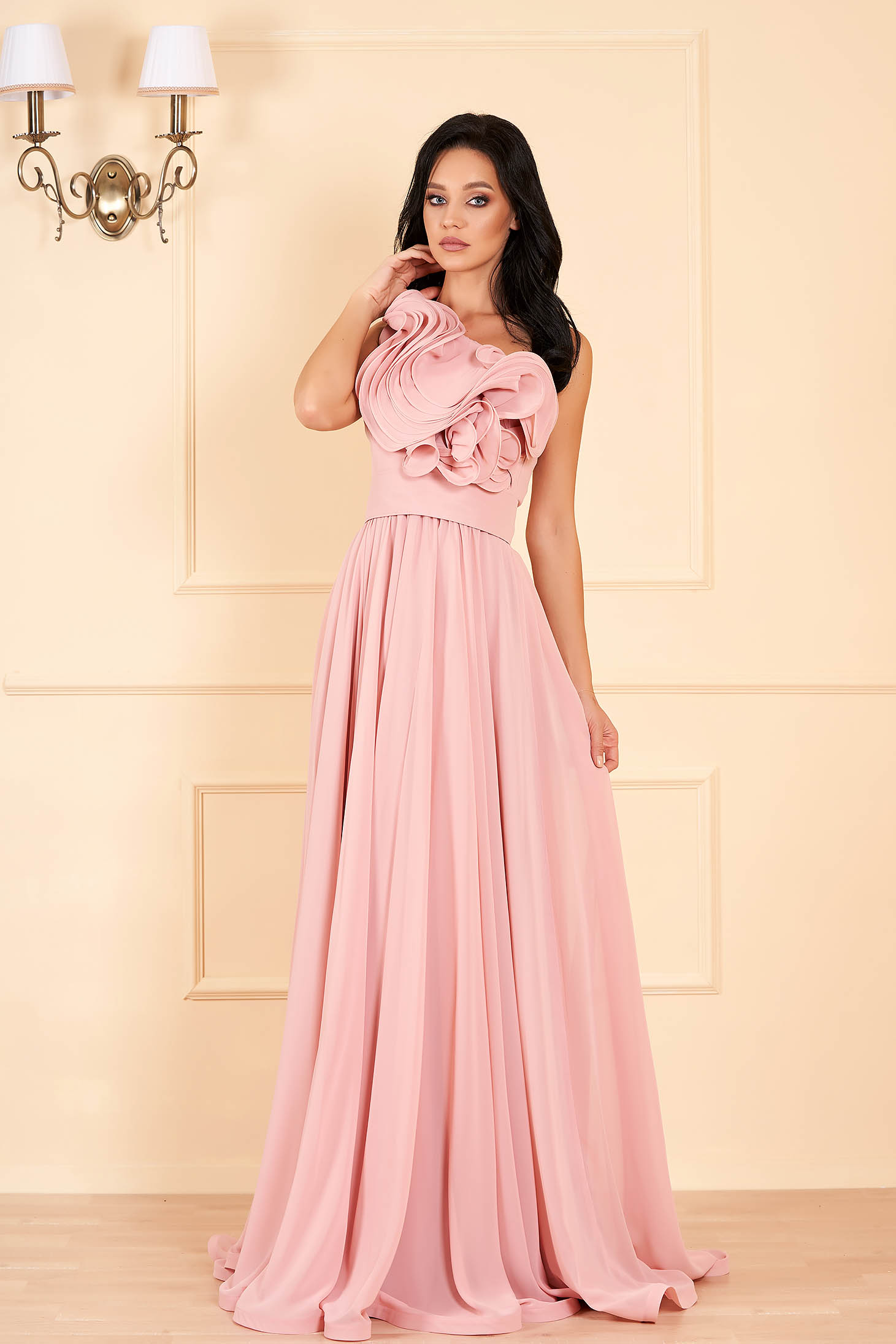 Ana Radu luxurious one shoulder from veil fabric with inside lining with ruffle details accessorized with tied waistband peach dress