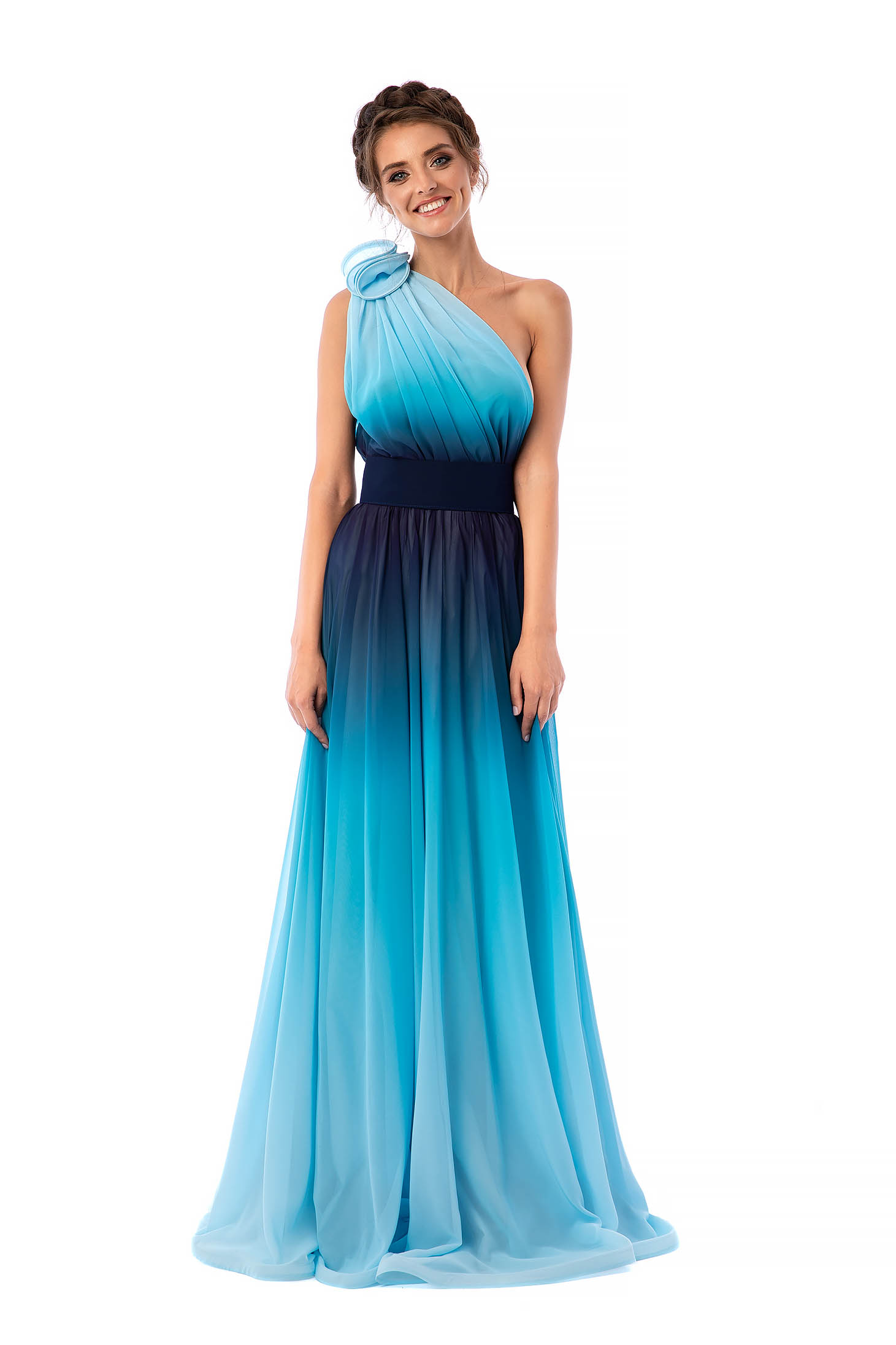 Ana Radu lightblue dress luxurious long one shoulder detachable cord airy fabric degrade