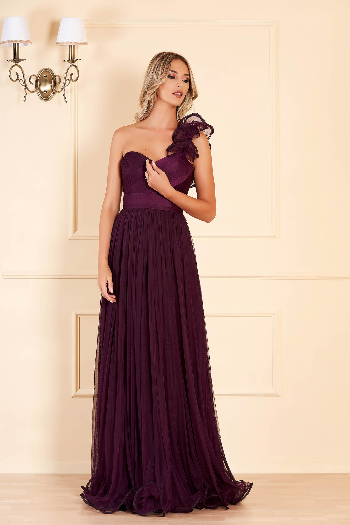 Ana Radu purple luxurious long dress from tulle with push-up cups flaring cut