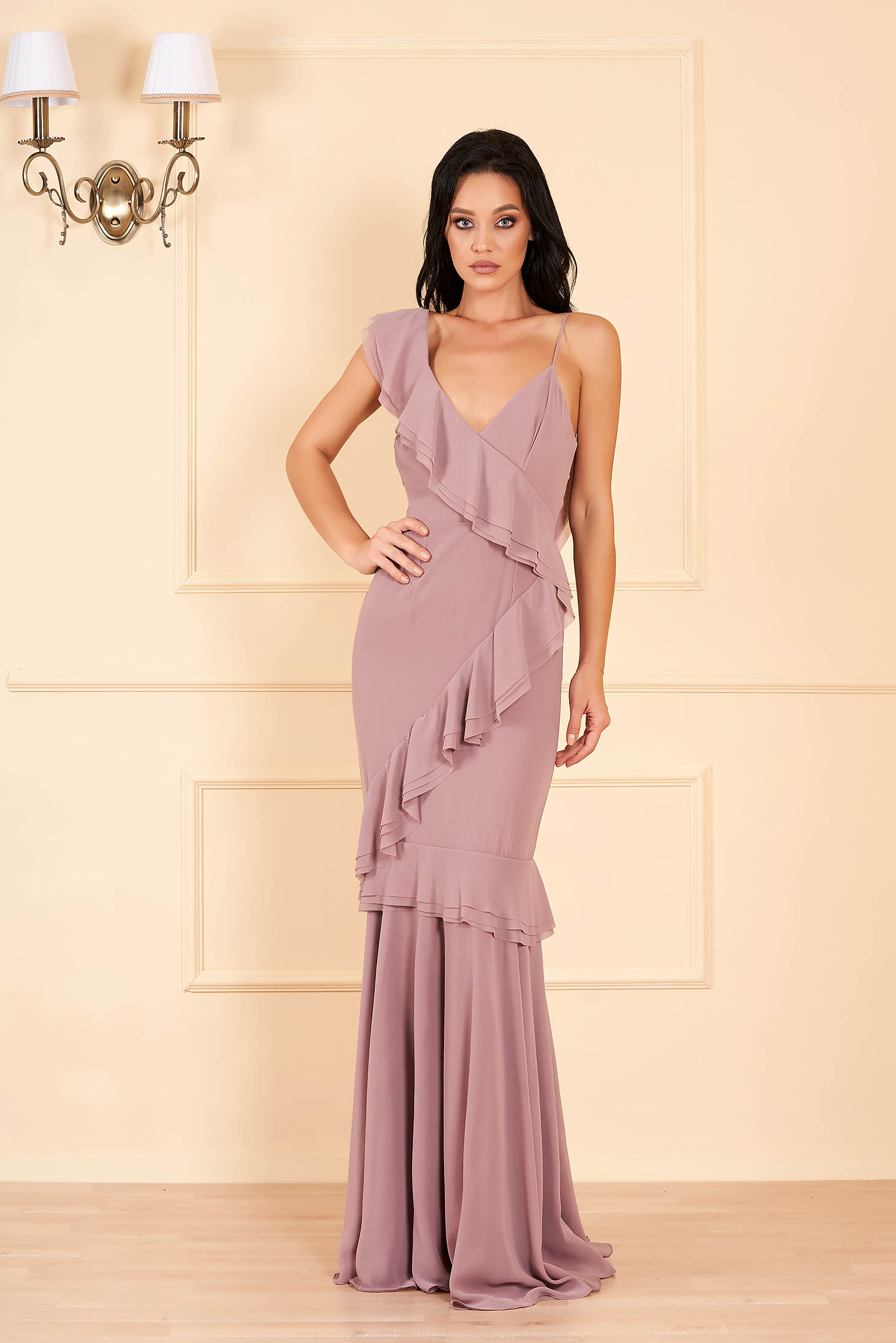 Ana Radu cappuccino dress luxurious long from veil fabric with v-neckline all-over frill dress