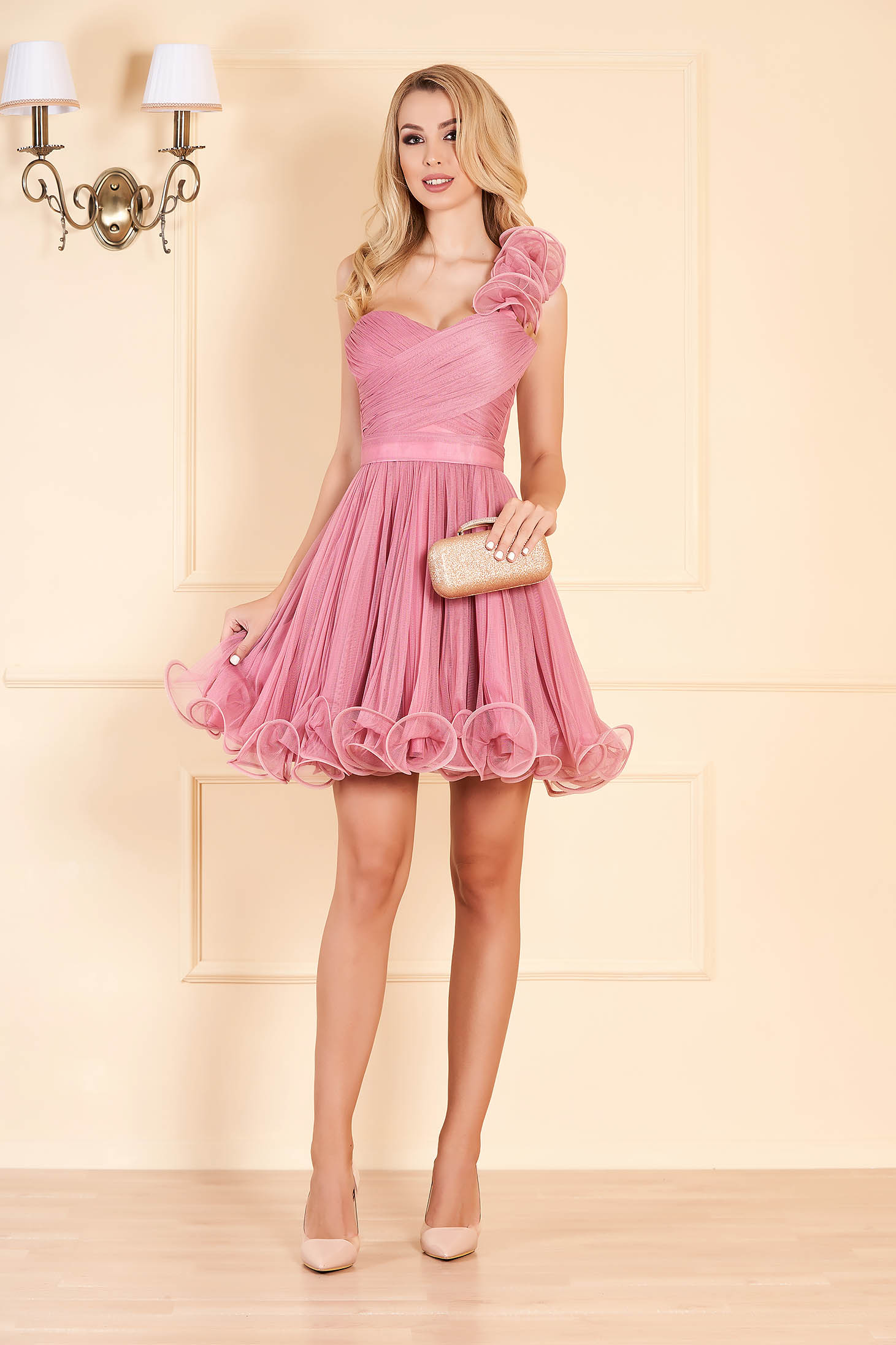 Ana Radu lightpurple occasional corset cloche dress from tulle with push-up cups accessorized with tied waistband