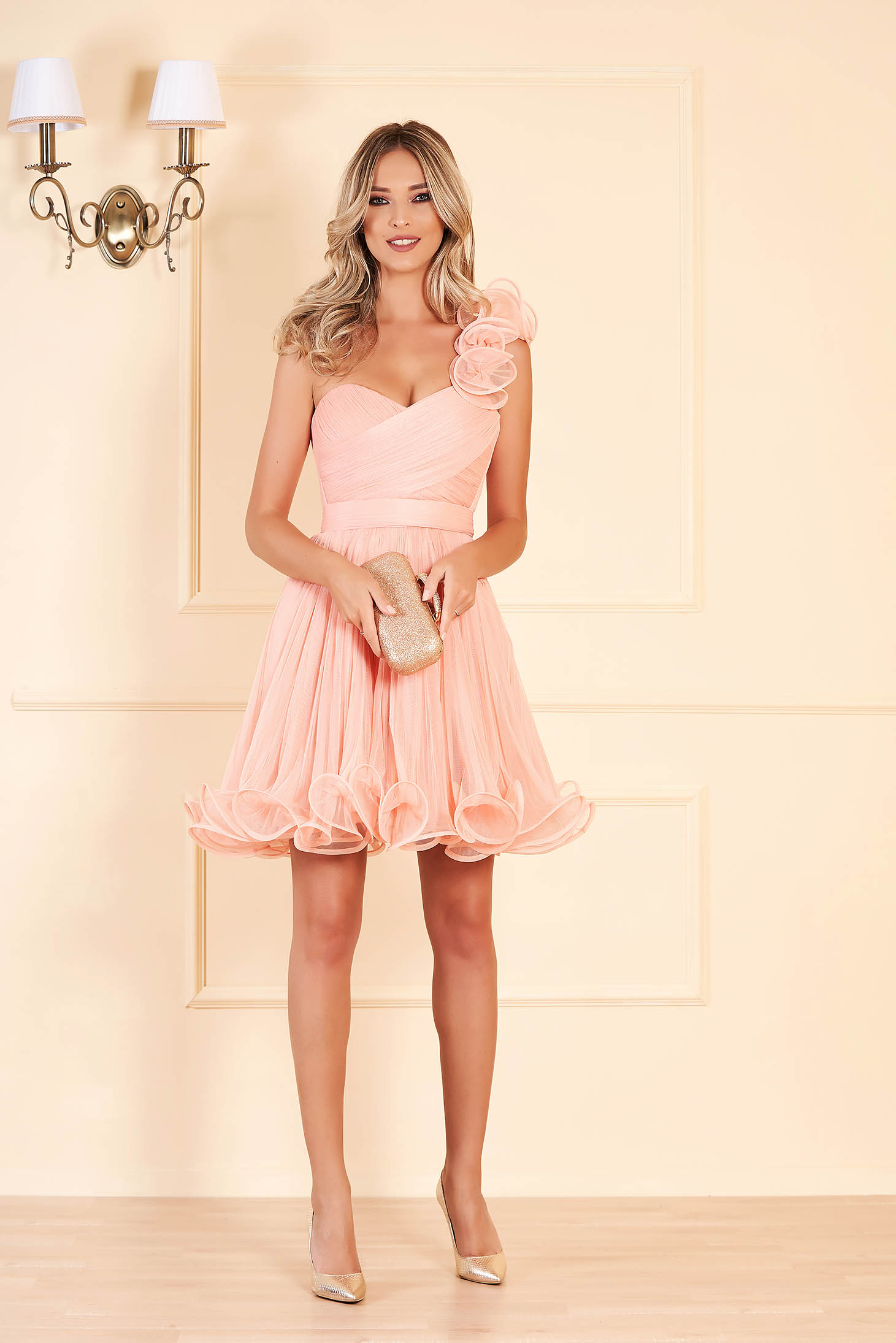 Ana Radu peach occasional corset cloche dress from tulle with push-up cups accessorized with tied waistband