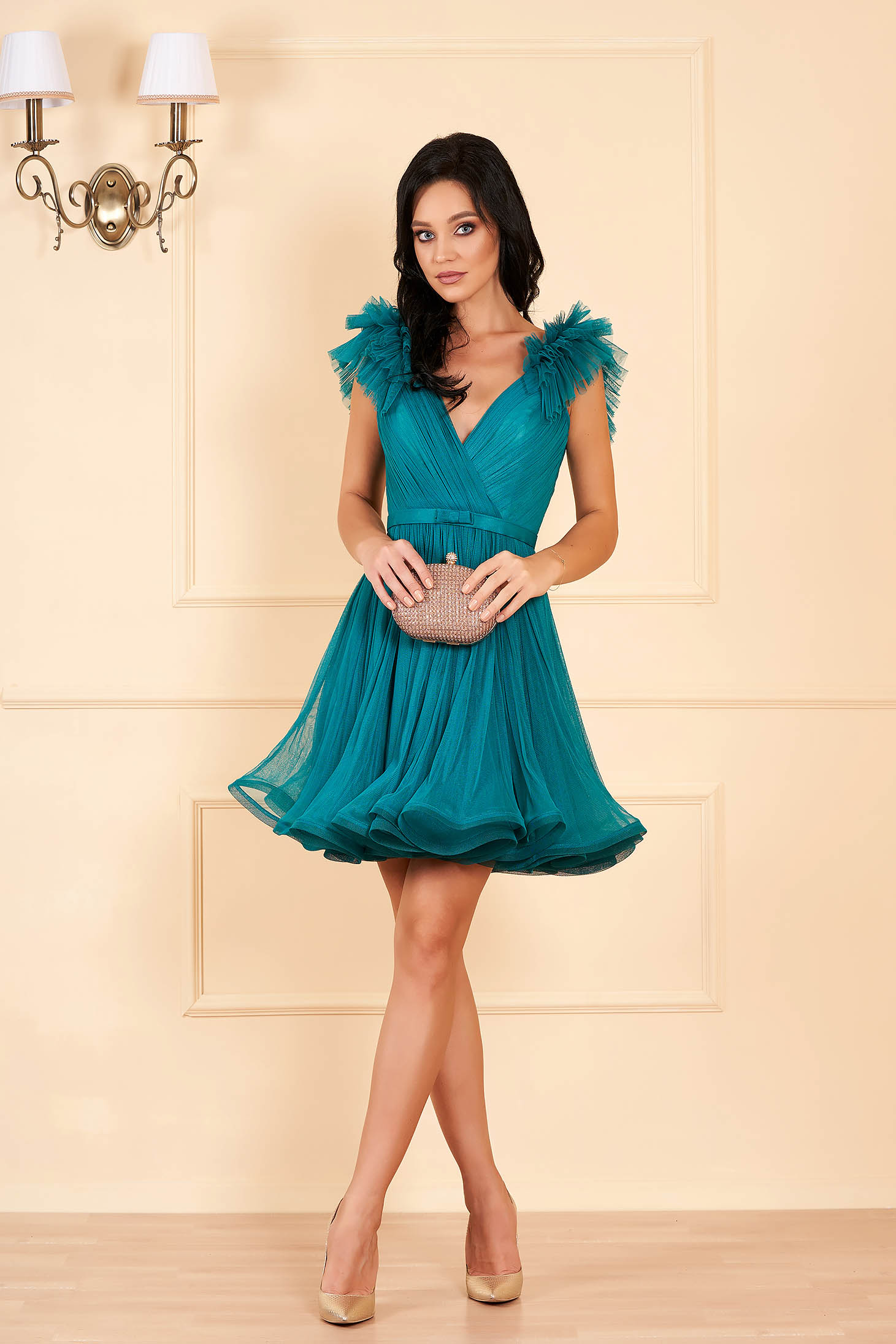 Ana Radu dirty green luxurious cloche dress from tulle with inside lining with deep cleavage