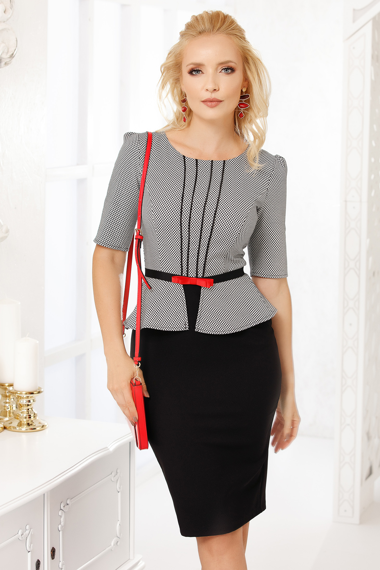 Black short cut elegant pencil dress with peplum and detachable cord