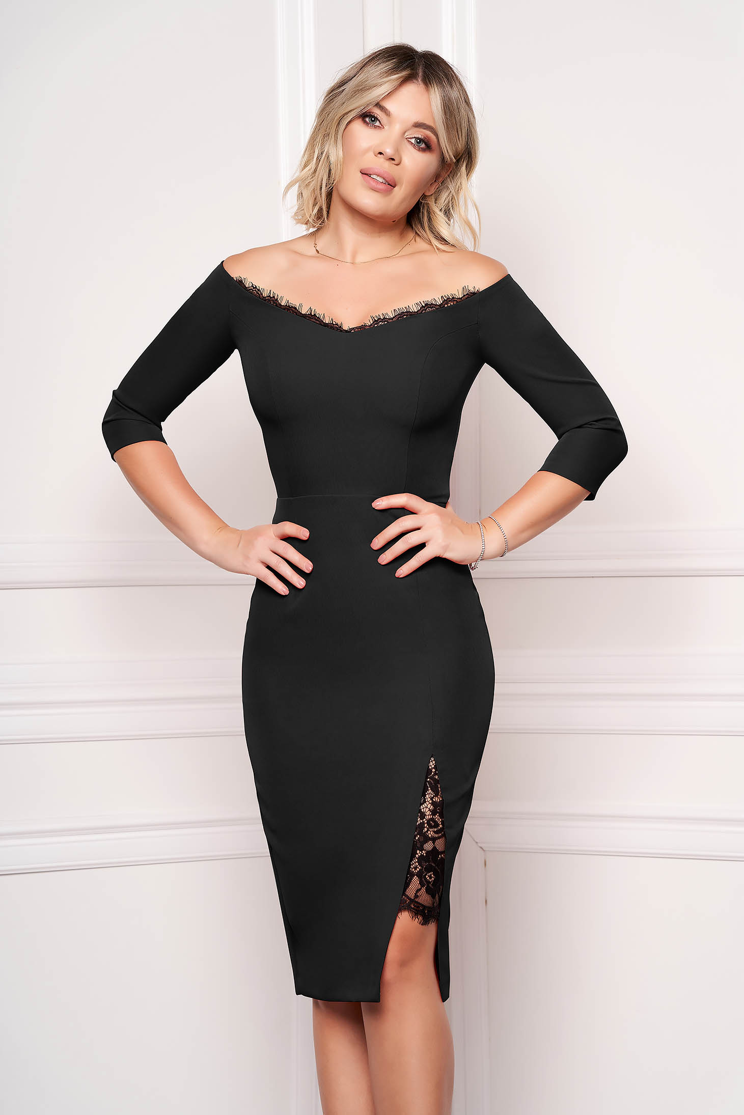 StarShinerS black dress elegant midi pencil cloth thin fabric with 3/4 sleeves naked shoulders with lace details