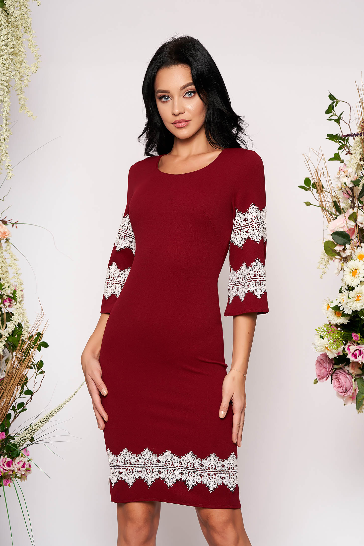 Burgundy dress elegant short cut pencil with 3/4 sleeves with bell sleeve with lace details with rounded cleavage