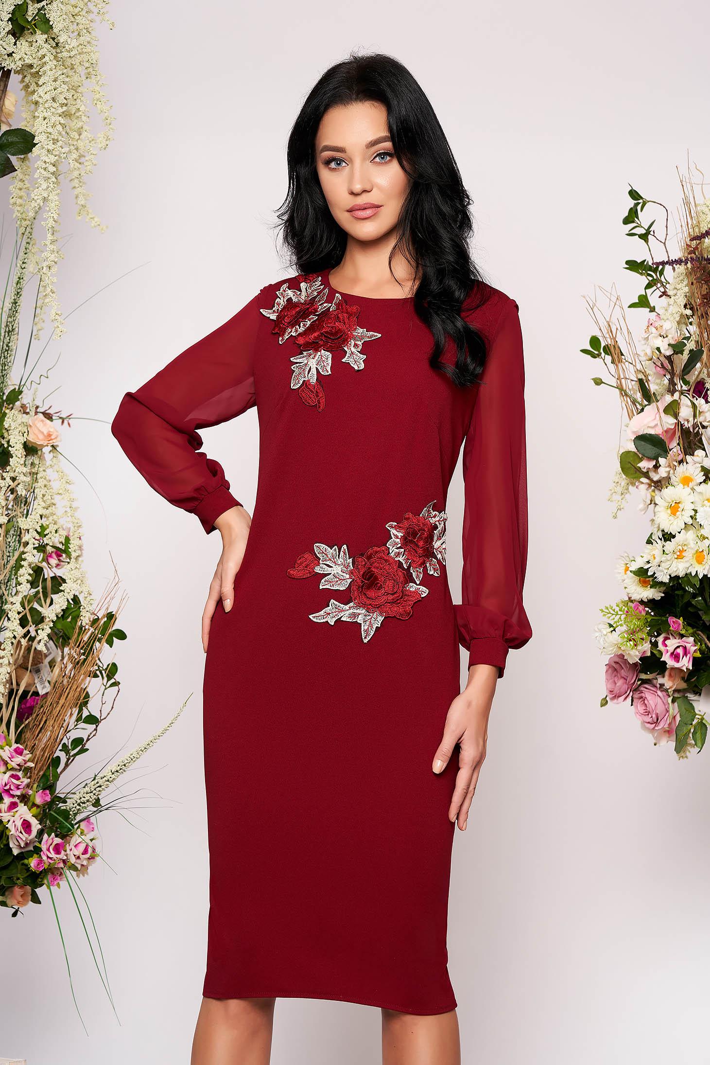 Burgundy elegant midi pencil dress with inside lining scuba from veil fabric