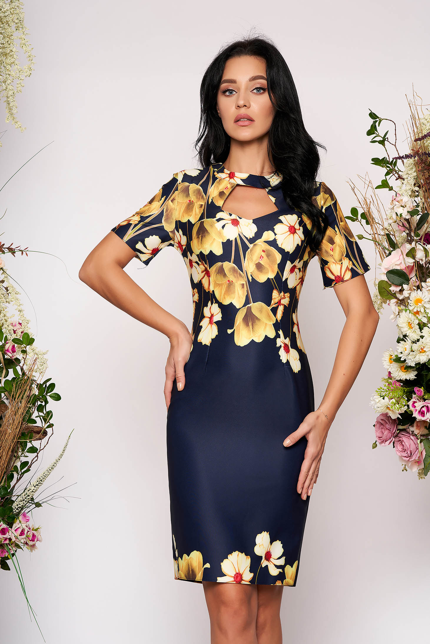 Darkblue dress elegant midi pencil cut-out bust design short sleeves without clothing with floral print