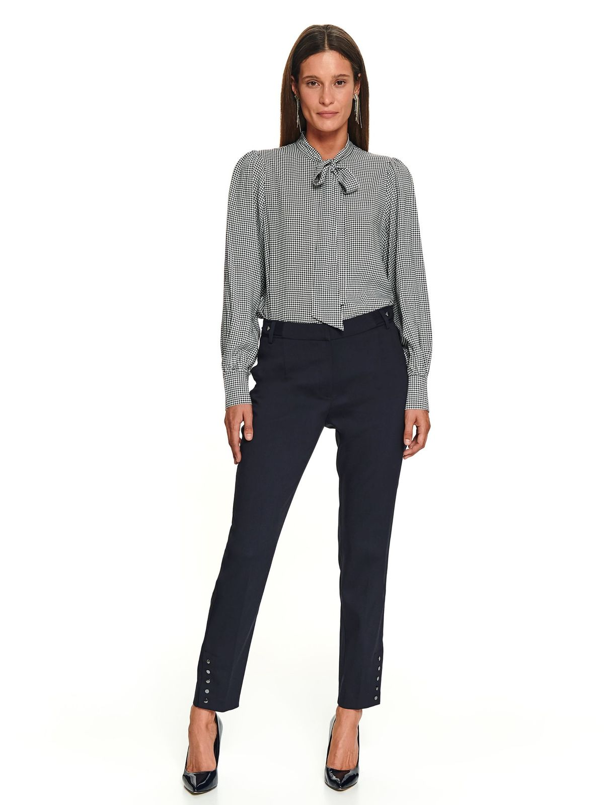 Black elegant long straight trousers with pockets