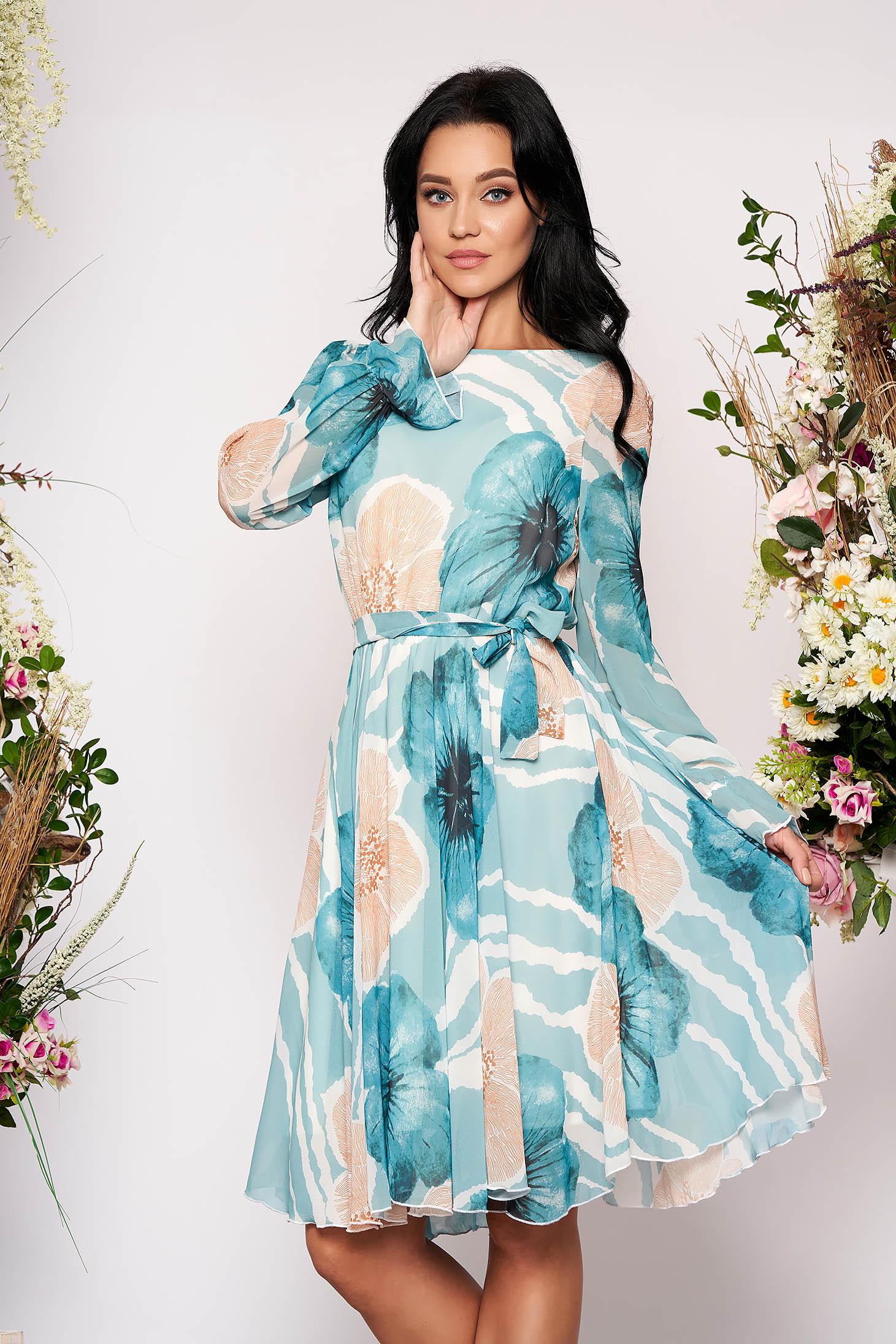 Rochie Fofy turcoaz eleganta midi in clos din voal cu elastic in talie cu maneci lungi si imprimeu floral