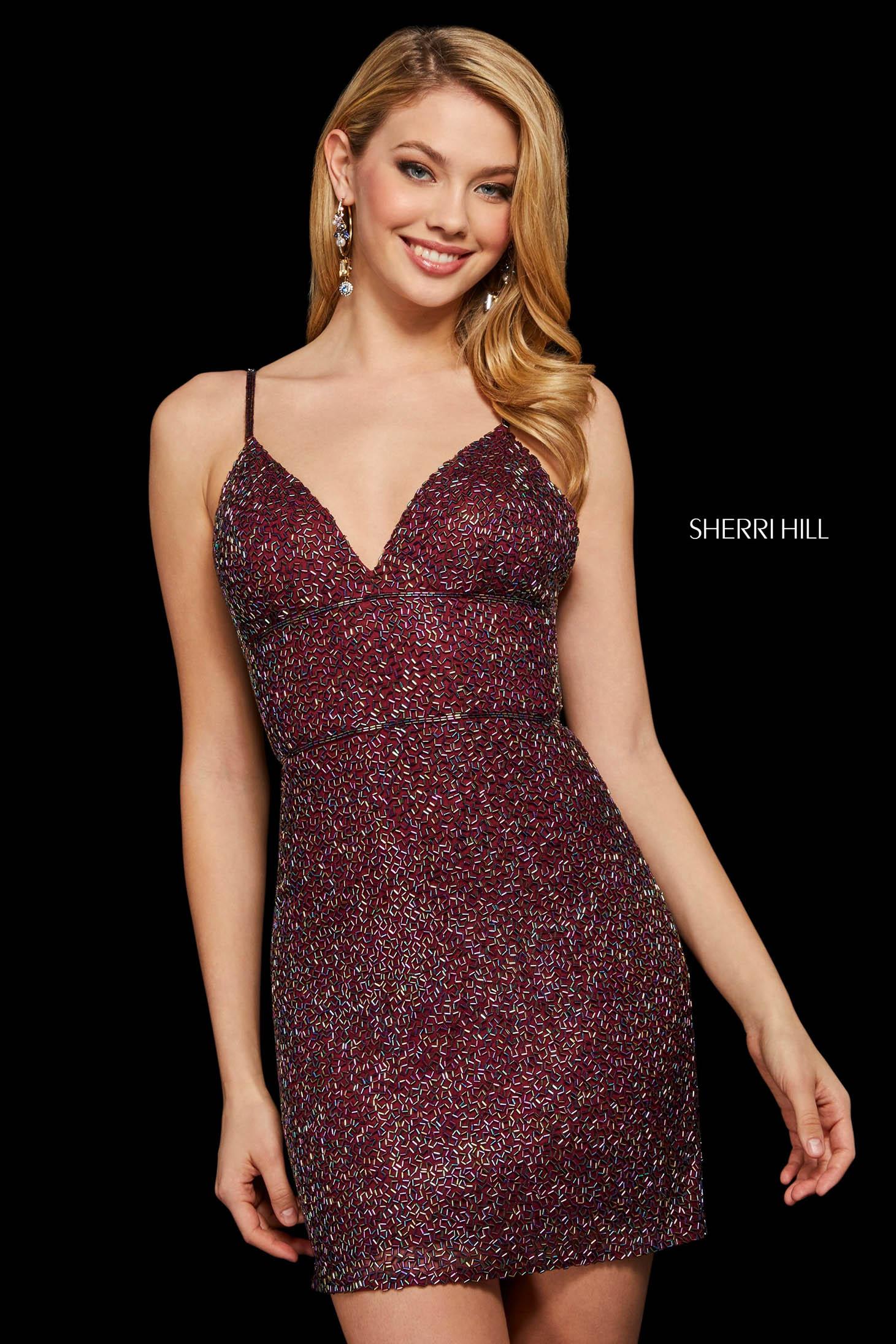 Rochie Sherri Hill 53014 burgundy/multi