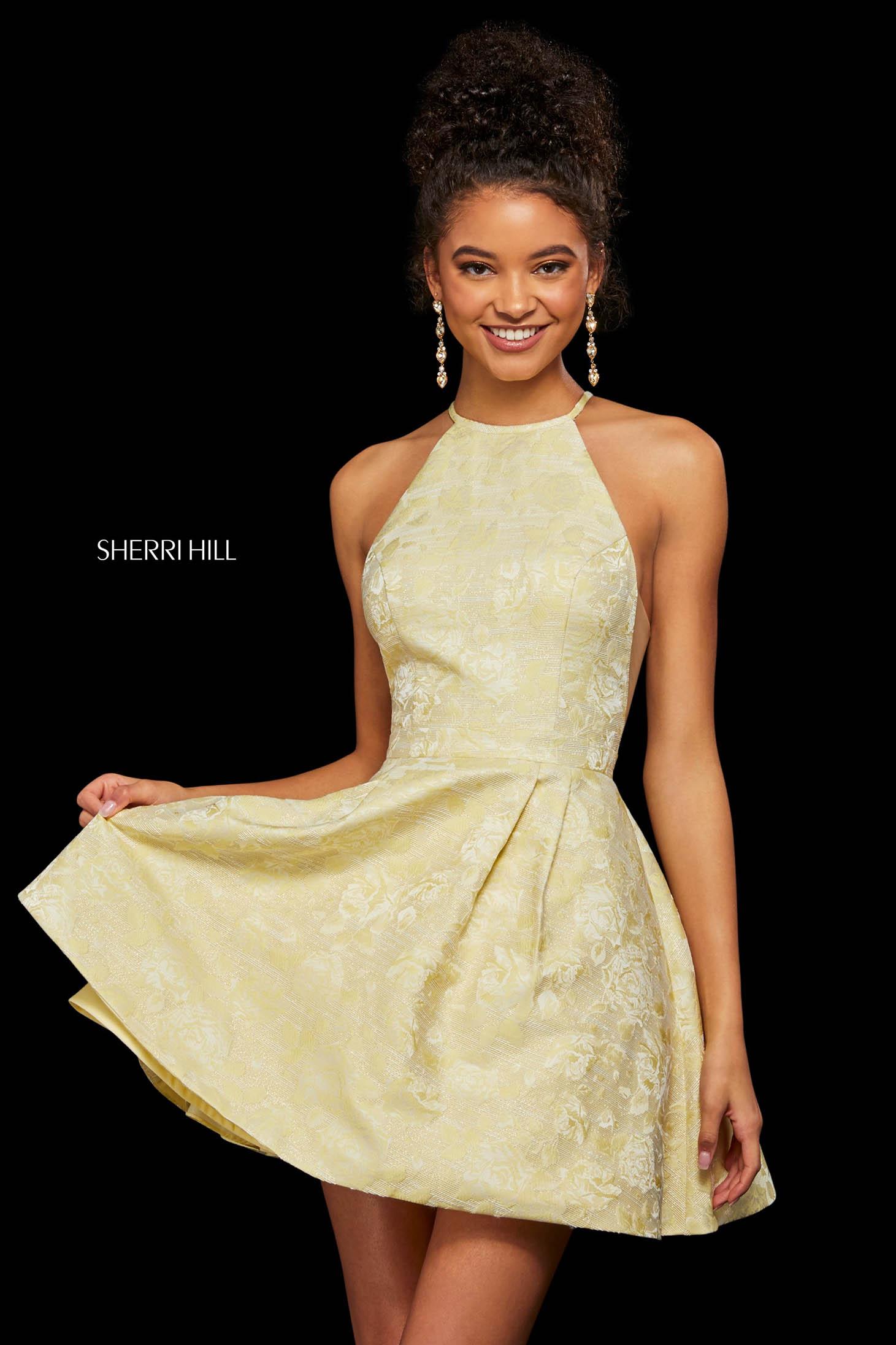 Rochie Sherri Hill 53022 light yellow print