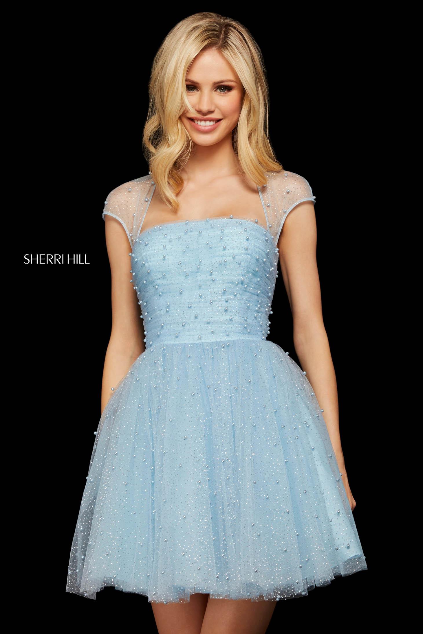 Rochie Sherri Hill 53077 light blue