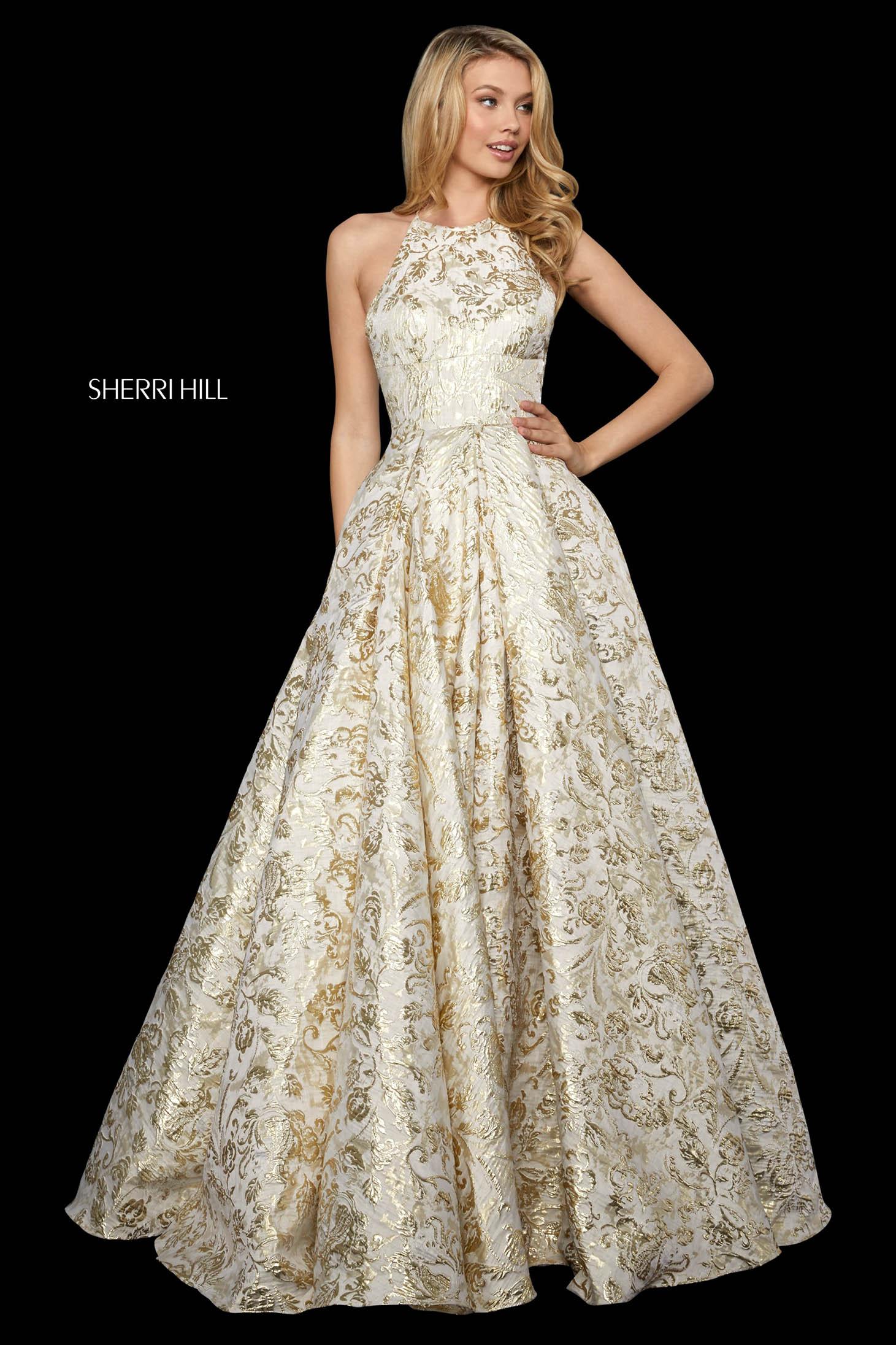 Rochie Sherri Hill 53253 gold