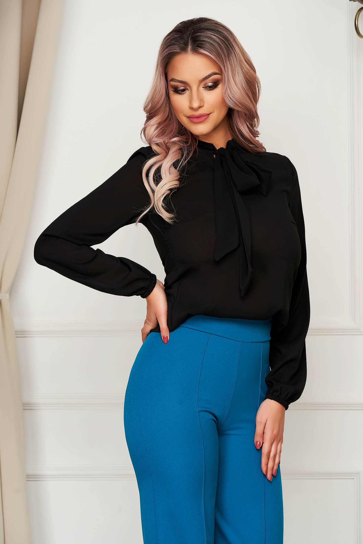 StarShinerS black elegant flared women`s blouse voile fabric