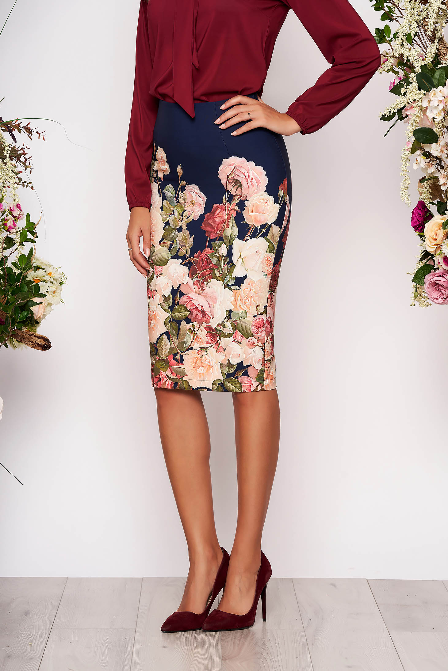 StarShinerS blue office midi pencil skirt slightly elastic fabric with floral prints