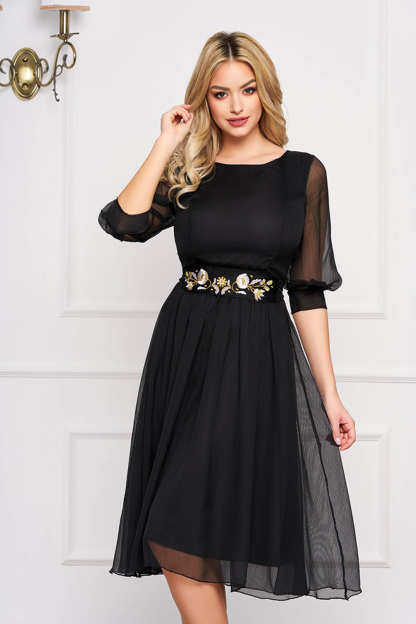 StarShinerS black dress occasional midi cloche with 3/4 sleeves with rounded cleavage airy fabric detachable cord