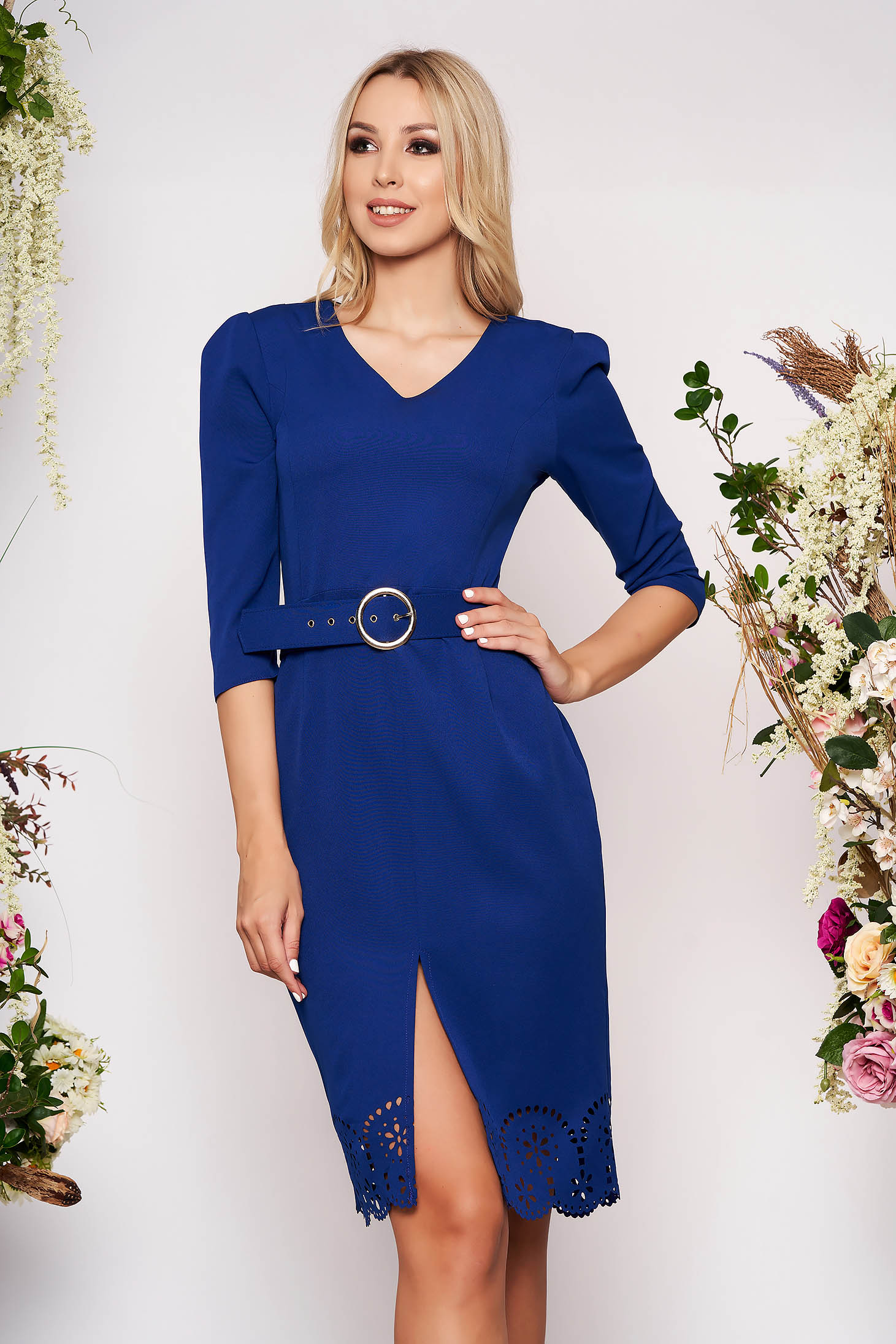 Blue dress elegant midi pencil with v-neckline with cut out material accessorized with belt